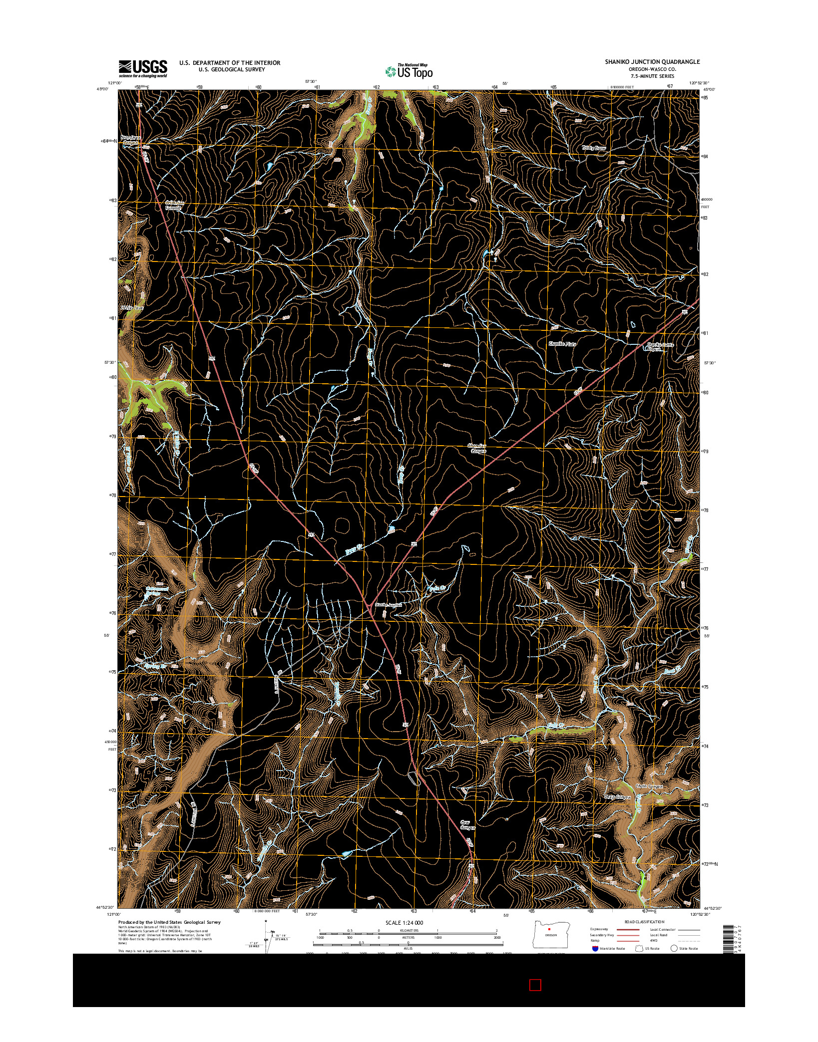 USGS US TOPO 7.5-MINUTE MAP FOR SHANIKO JUNCTION, OR 2014