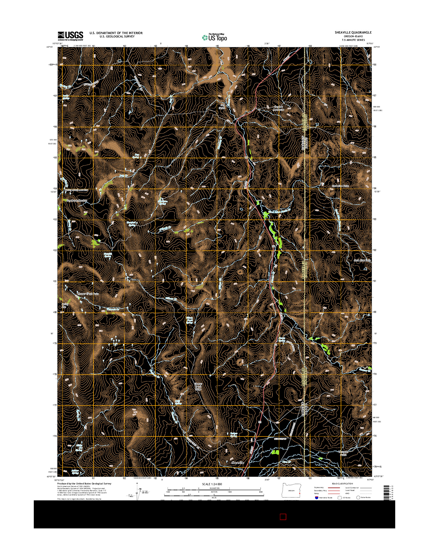 USGS US TOPO 7.5-MINUTE MAP FOR SHEAVILLE, OR-ID 2014