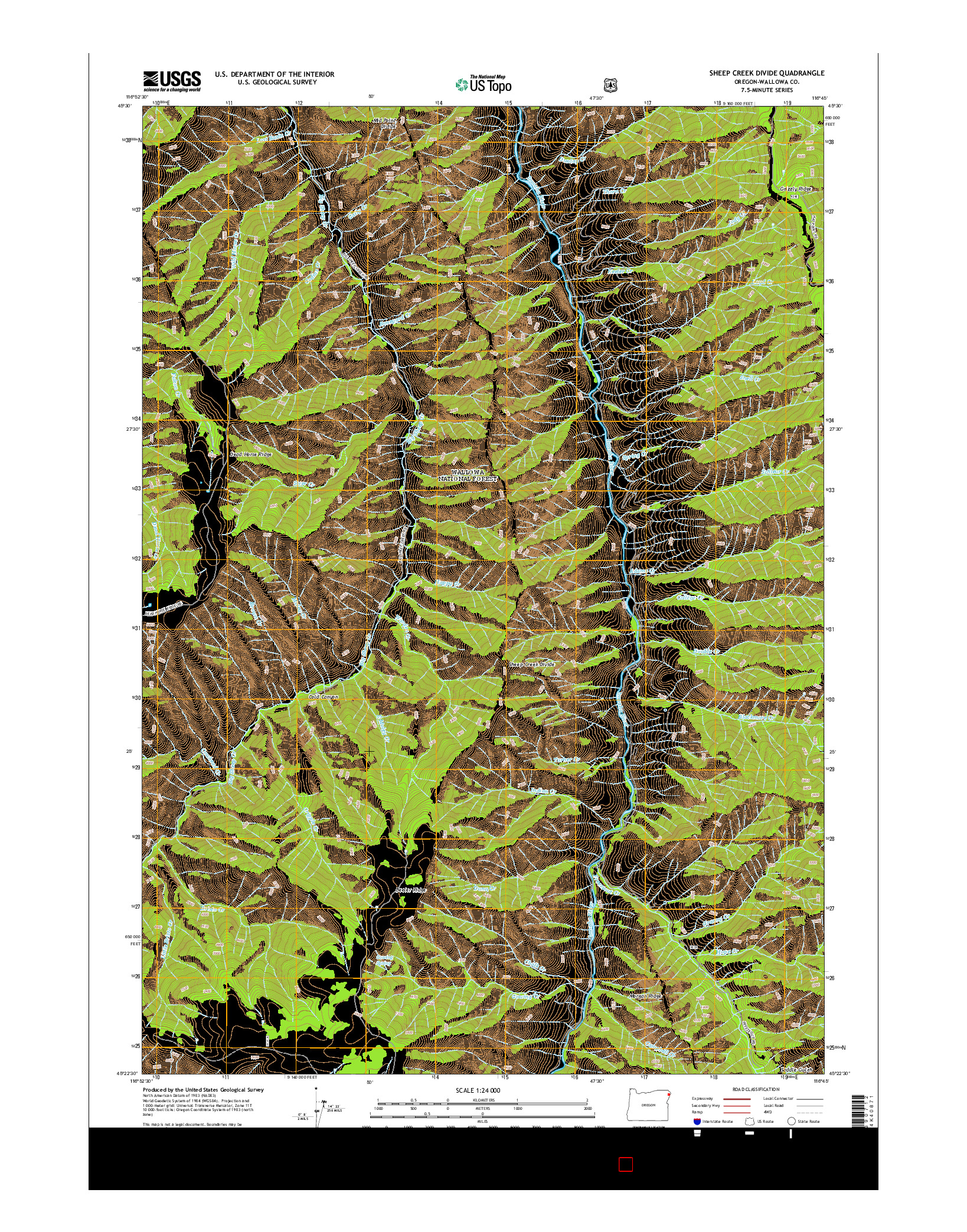 USGS US TOPO 7.5-MINUTE MAP FOR SHEEP CREEK DIVIDE, OR 2014