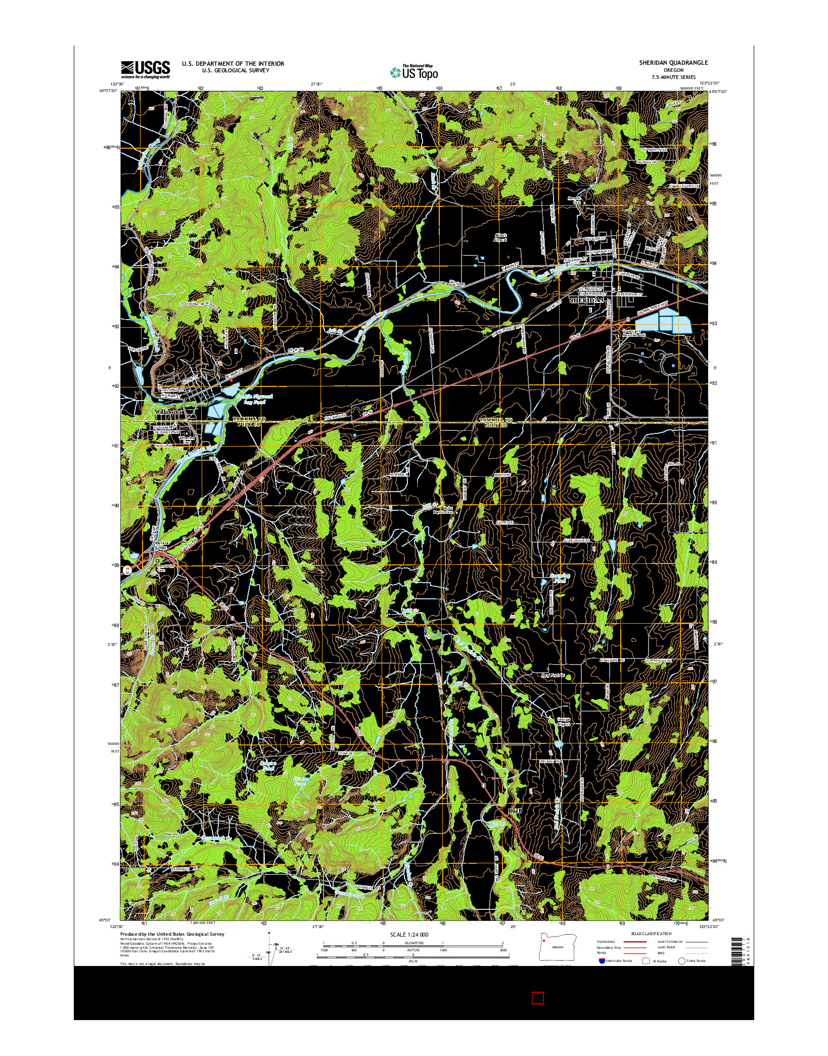 USGS US TOPO 7.5-MINUTE MAP FOR SHERIDAN, OR 2014