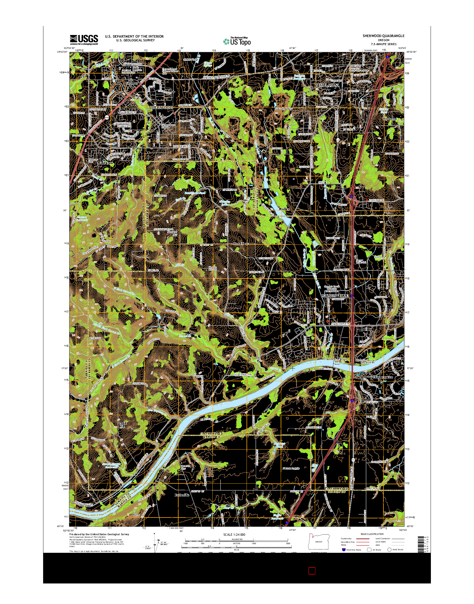 USGS US TOPO 7.5-MINUTE MAP FOR SHERWOOD, OR 2014