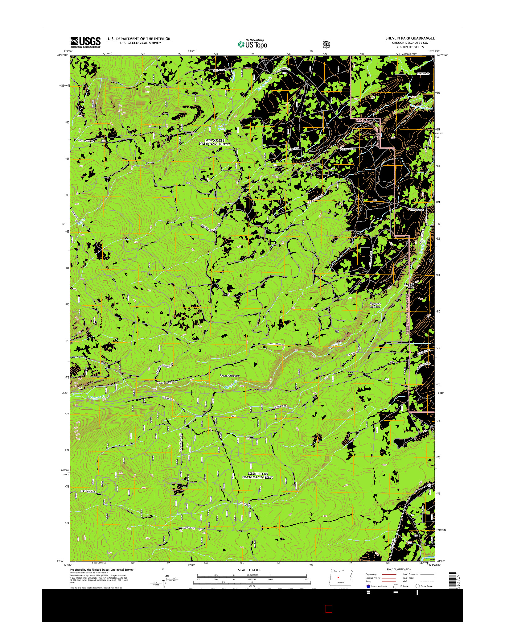 USGS US TOPO 7.5-MINUTE MAP FOR SHEVLIN PARK, OR 2014
