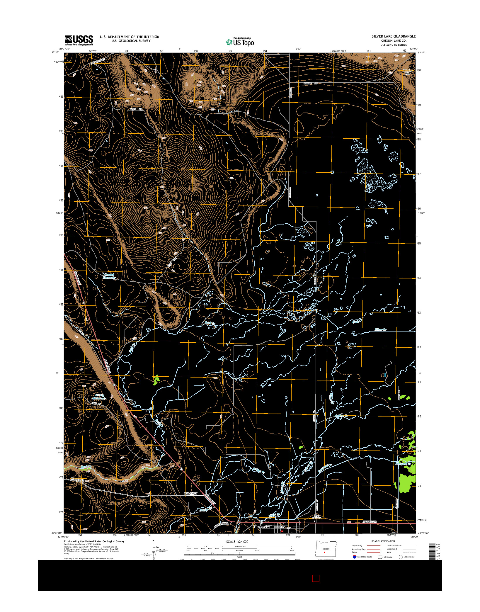 USGS US TOPO 7.5-MINUTE MAP FOR SILVER LAKE, OR 2014