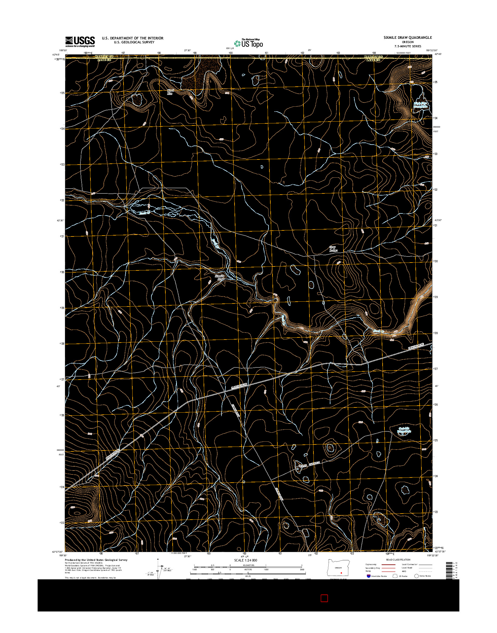 USGS US TOPO 7.5-MINUTE MAP FOR SIXMILE DRAW, OR 2014