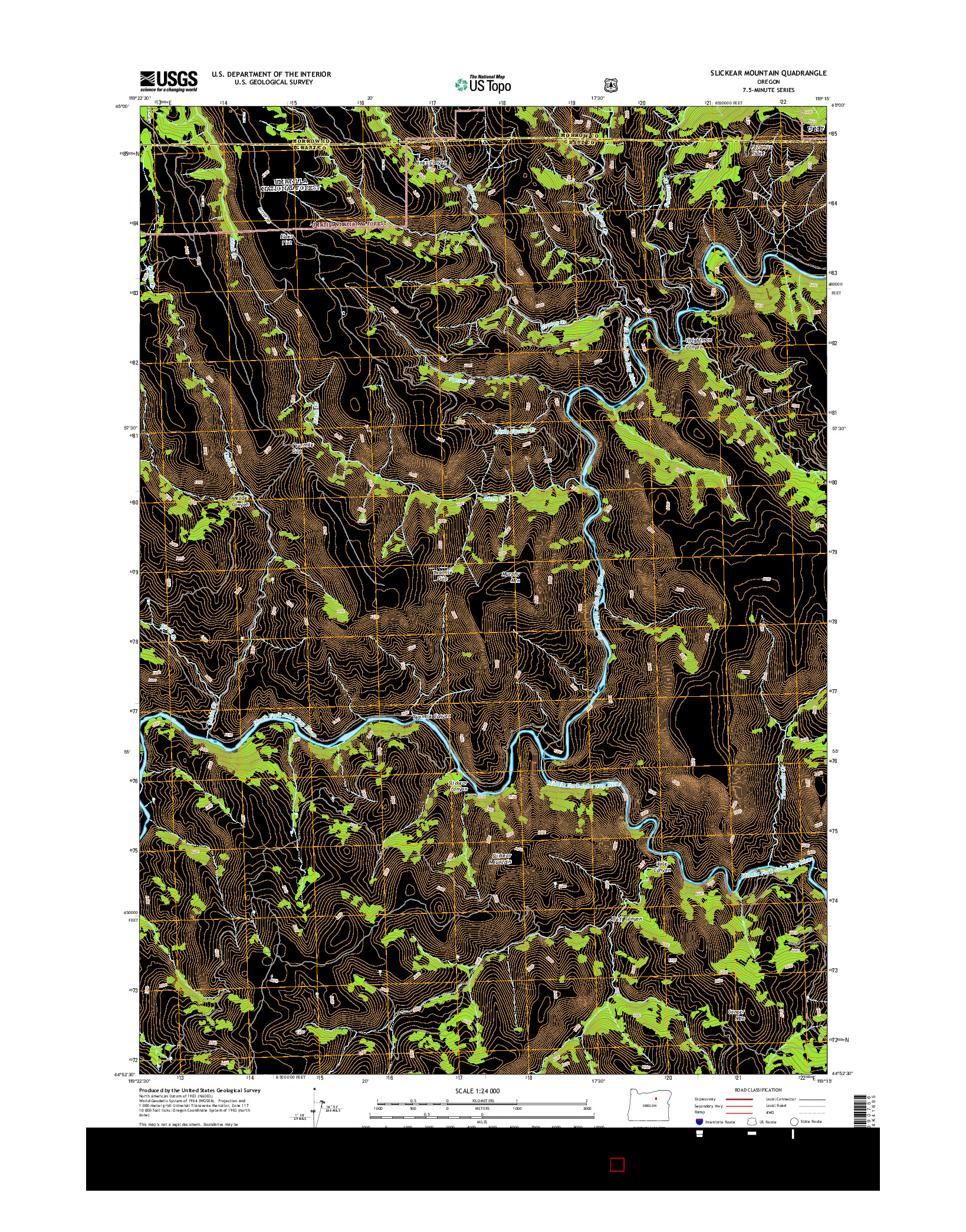 USGS US TOPO 7.5-MINUTE MAP FOR SLICKEAR MOUNTAIN, OR 2014