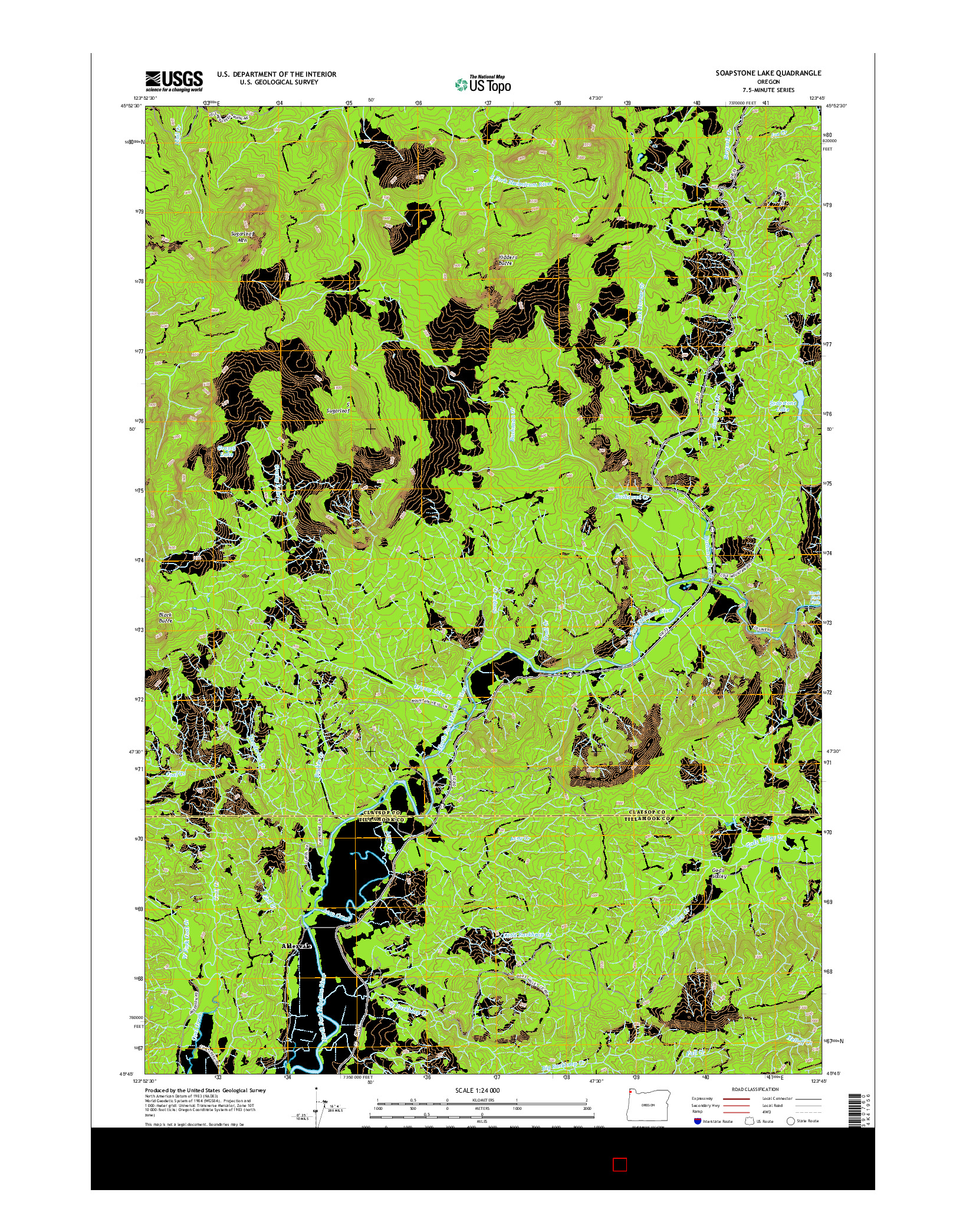 USGS US TOPO 7.5-MINUTE MAP FOR SOAPSTONE LAKE, OR 2014
