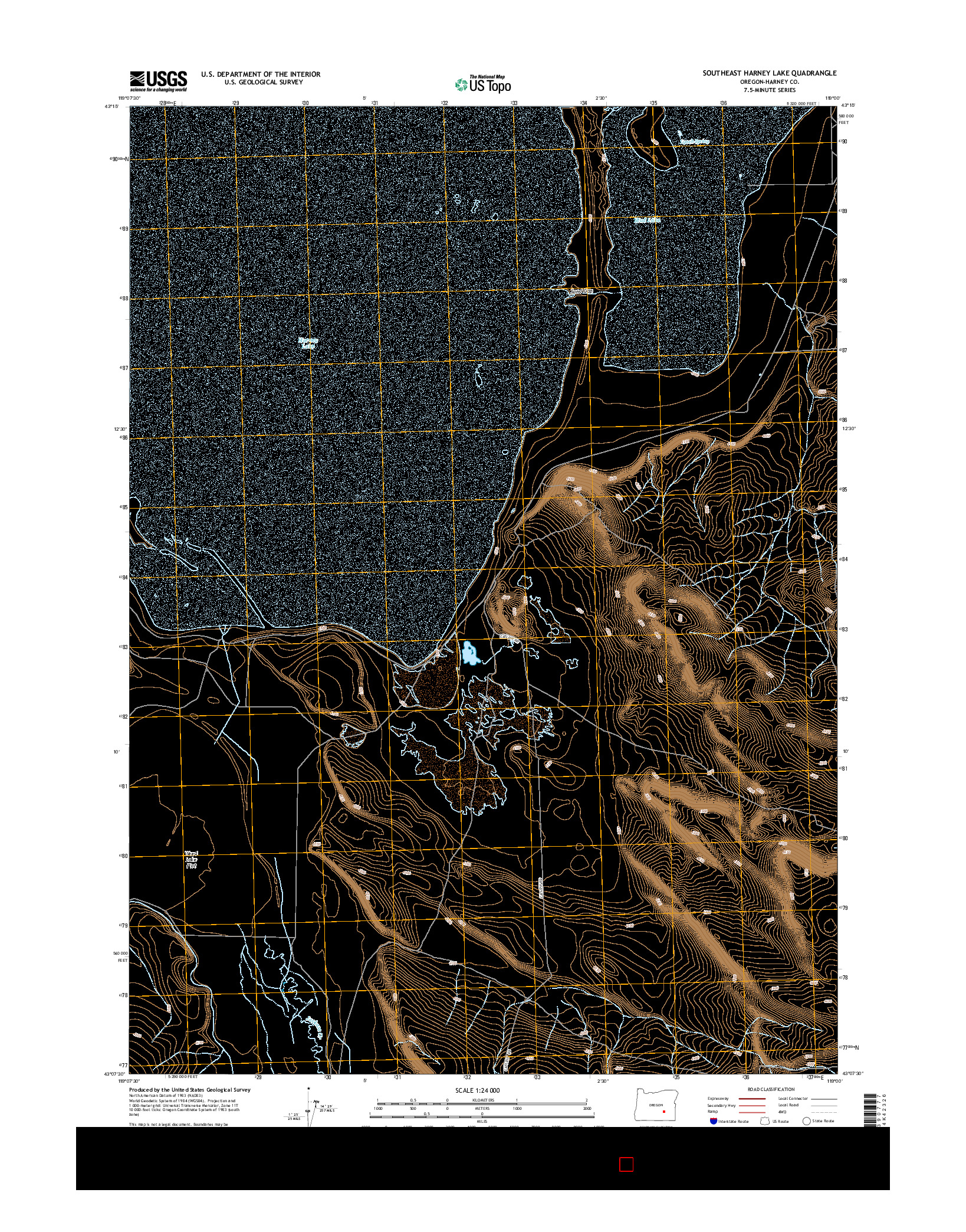 USGS US TOPO 7.5-MINUTE MAP FOR SOUTHEAST HARNEY LAKE, OR 2014