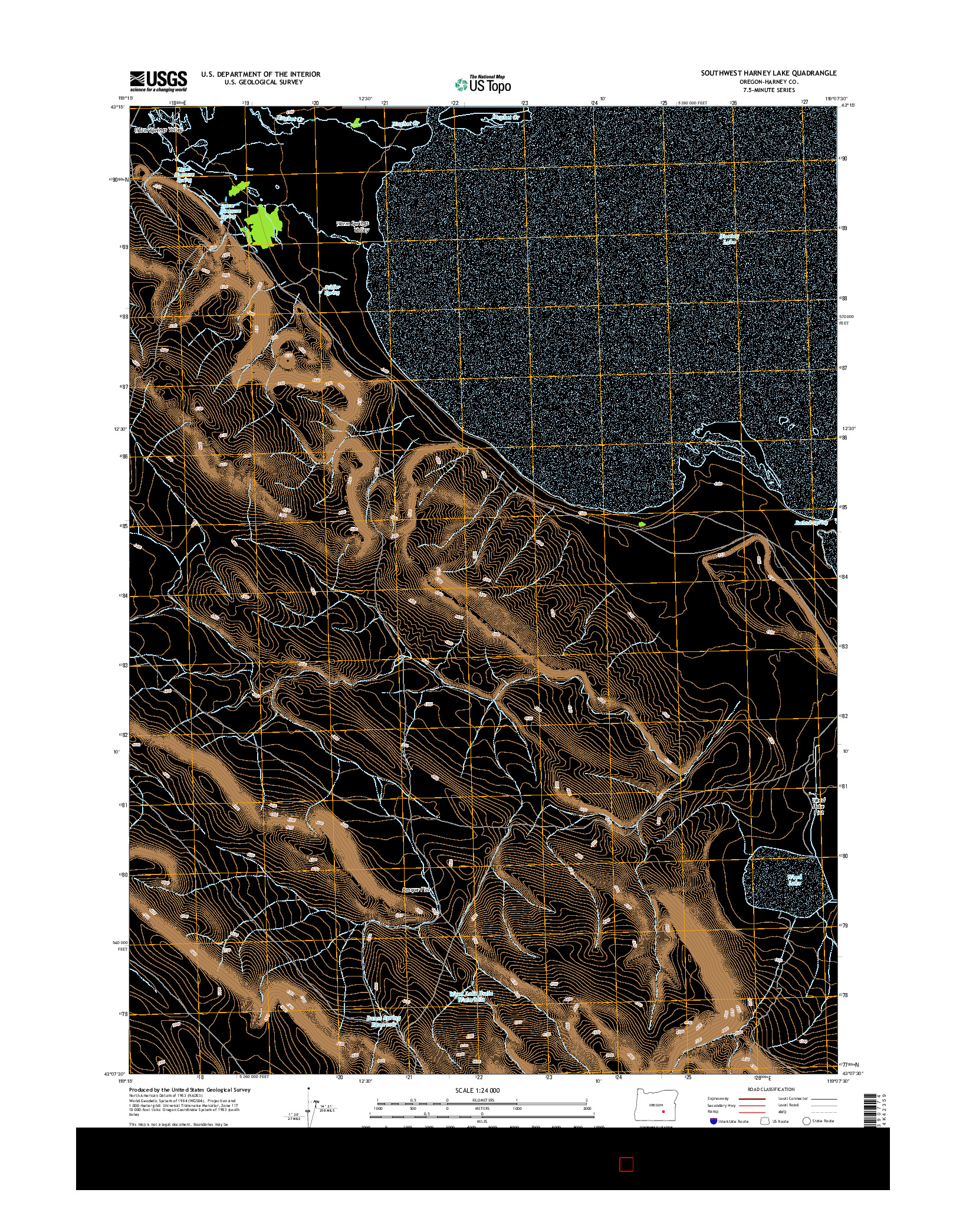 USGS US TOPO 7.5-MINUTE MAP FOR SOUTHWEST HARNEY LAKE, OR 2014