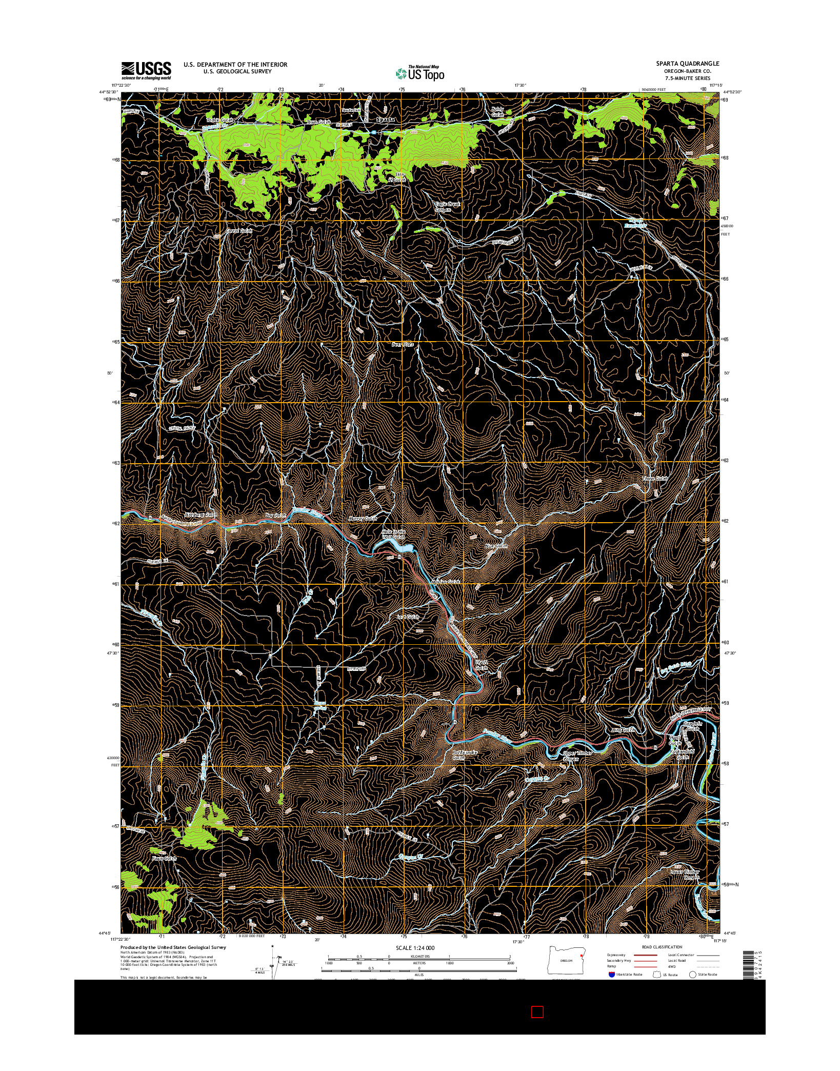 USGS US TOPO 7.5-MINUTE MAP FOR SPARTA, OR 2014