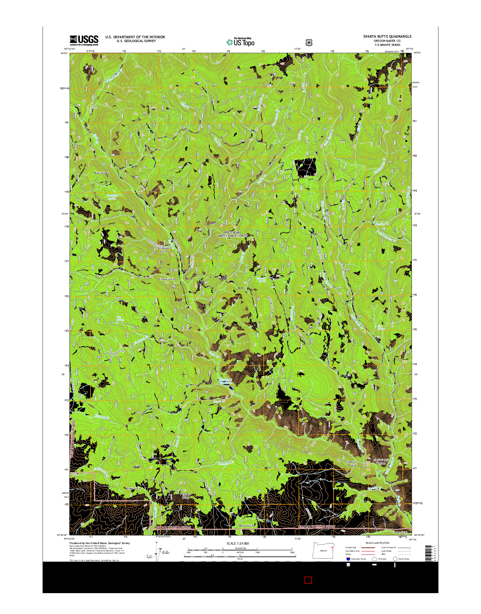 USGS US TOPO 7.5-MINUTE MAP FOR SPARTA BUTTE, OR 2014