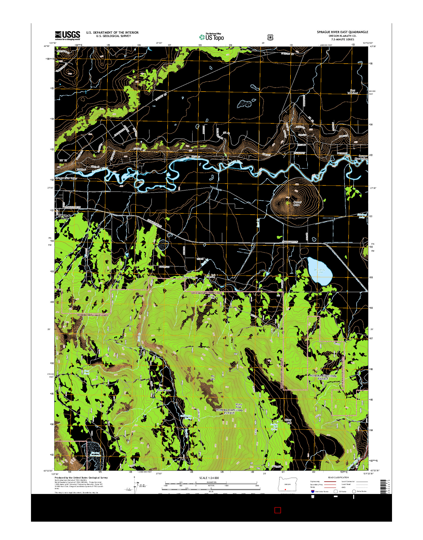 USGS US TOPO 7.5-MINUTE MAP FOR SPRAGUE RIVER EAST, OR 2014