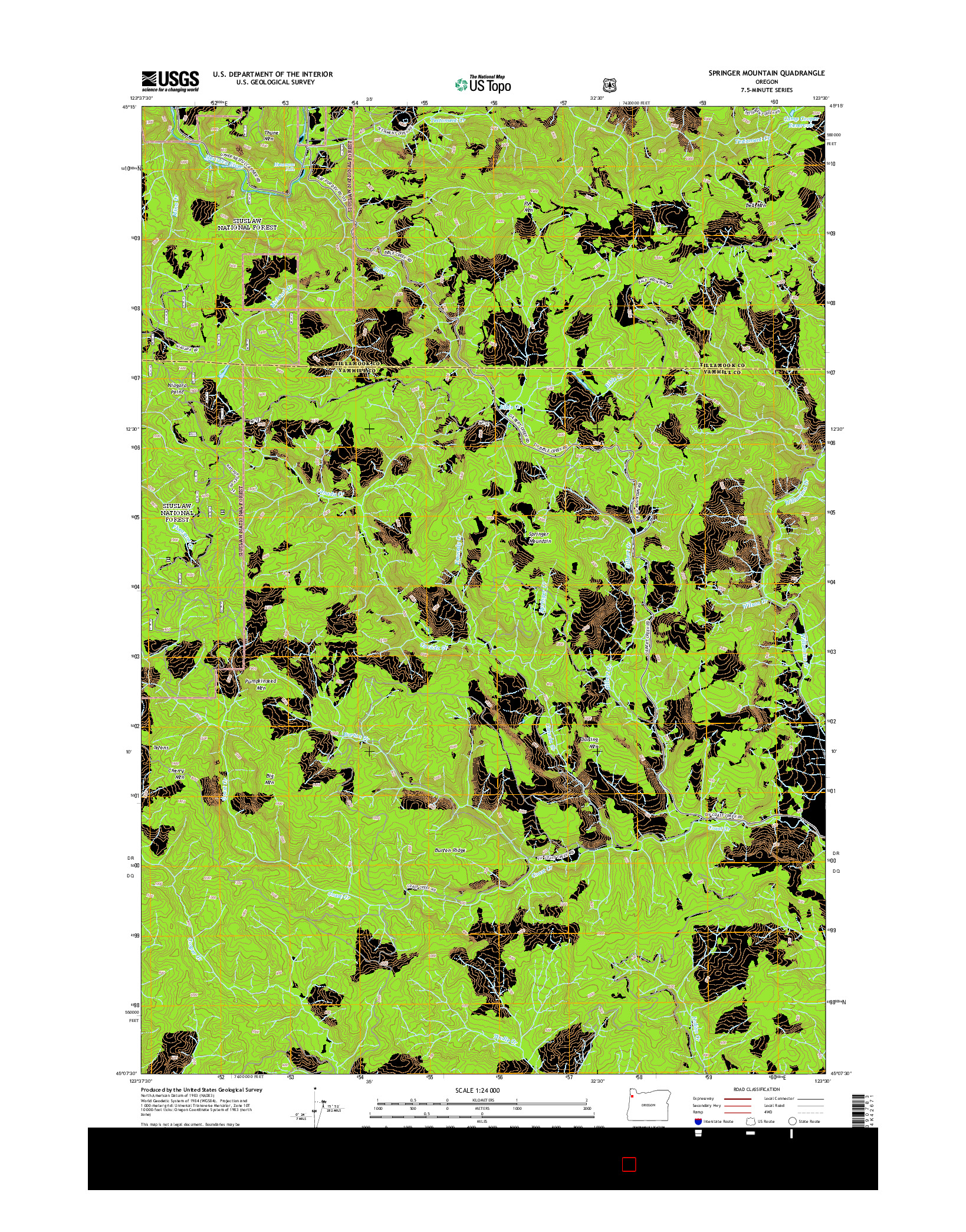 USGS US TOPO 7.5-MINUTE MAP FOR SPRINGER MOUNTAIN, OR 2014