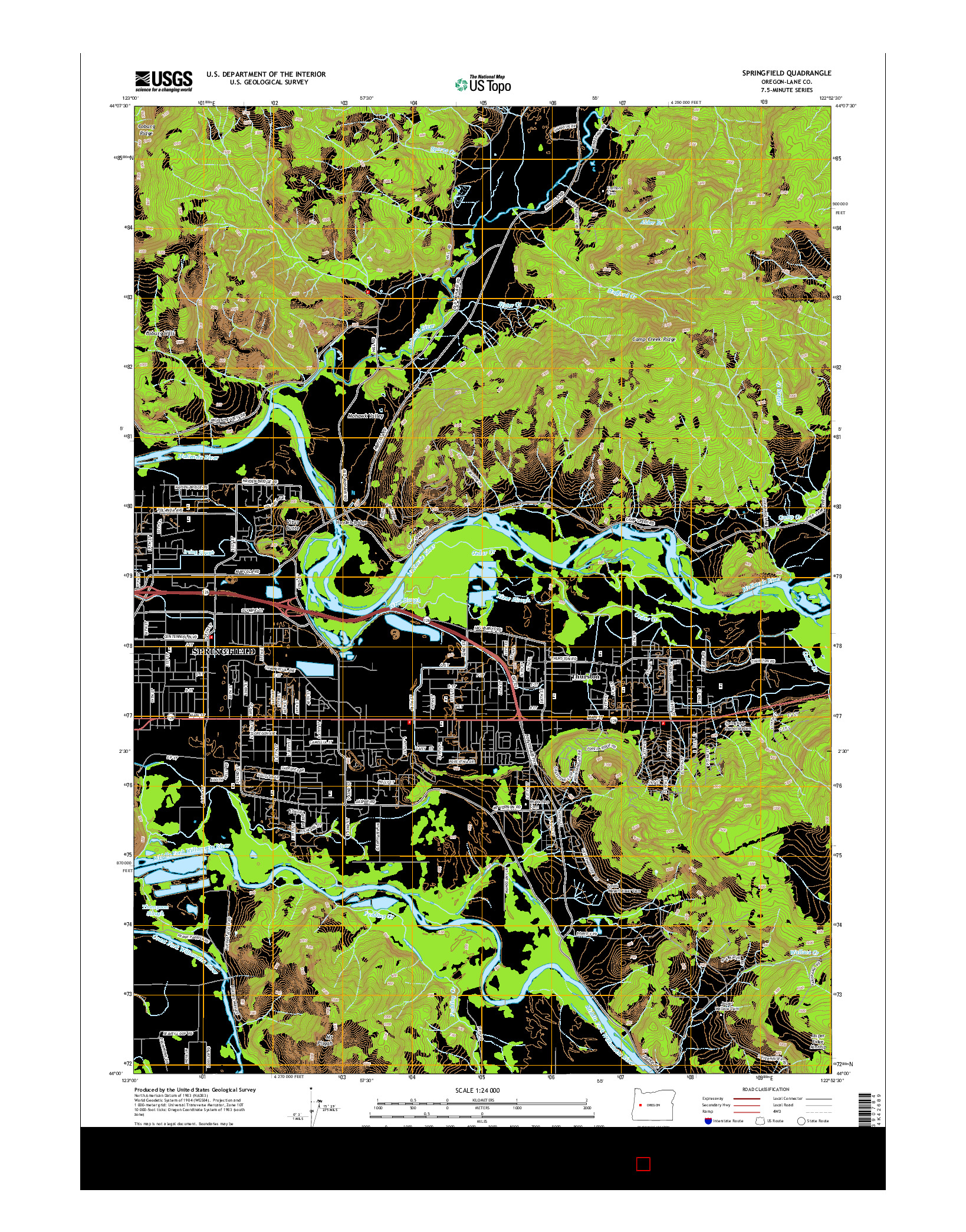 USGS US TOPO 7.5-MINUTE MAP FOR SPRINGFIELD, OR 2014
