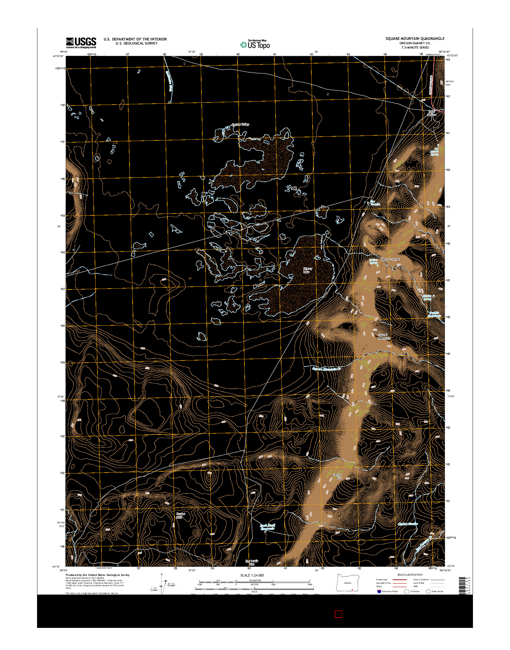 USGS US TOPO 7.5-MINUTE MAP FOR SQUARE MOUNTAIN, OR 2014