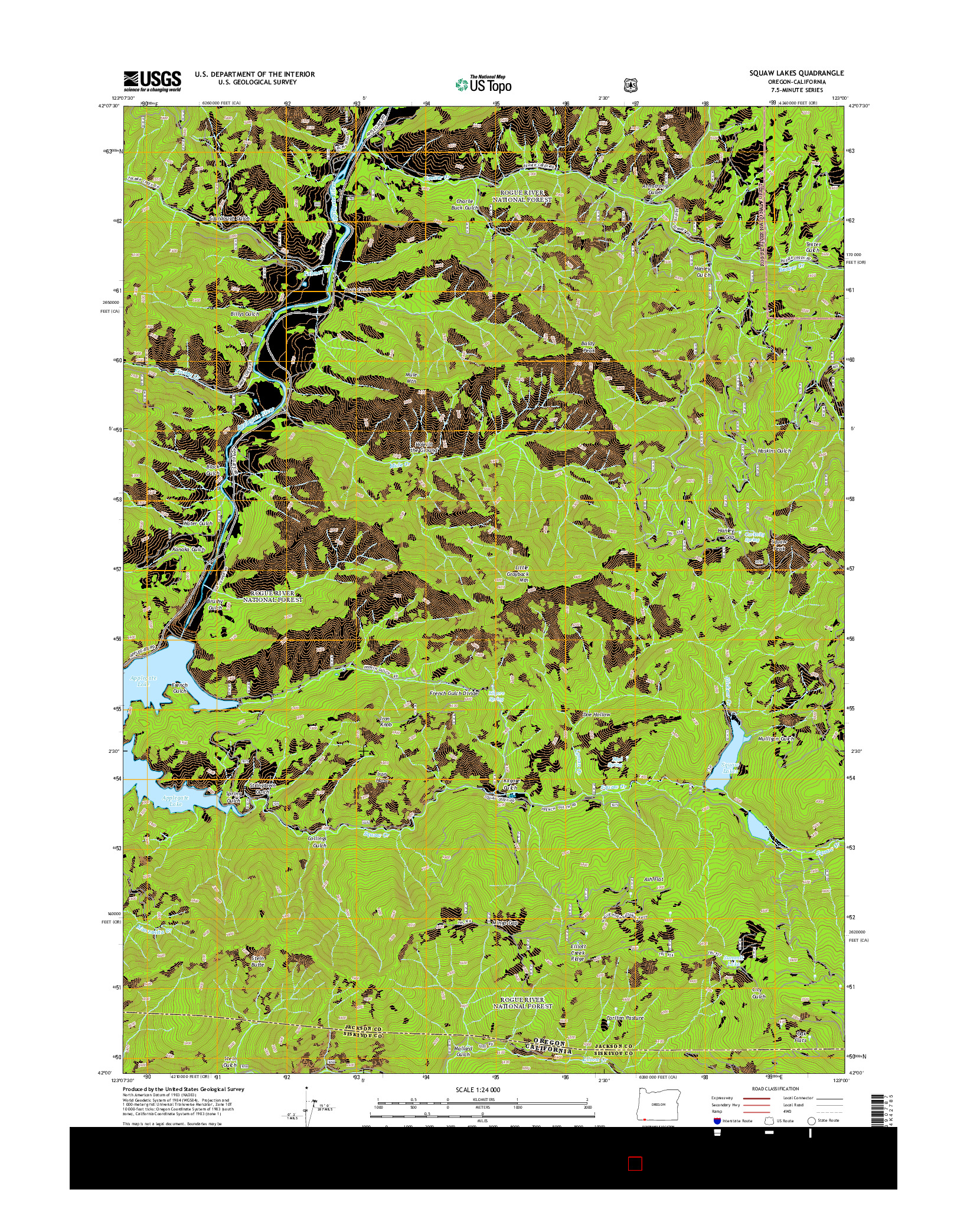USGS US TOPO 7.5-MINUTE MAP FOR SQUAW LAKES, OR-CA 2014