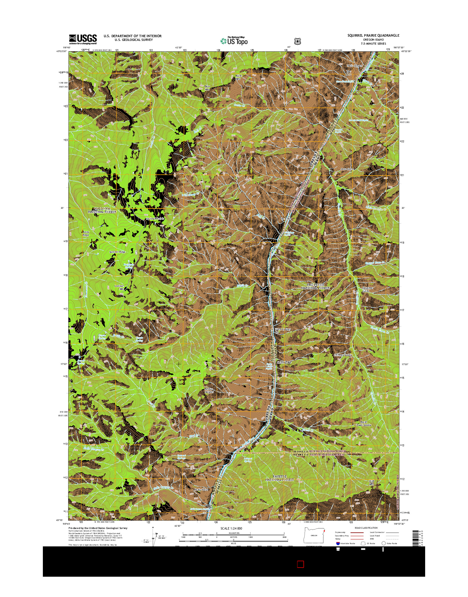 USGS US TOPO 7.5-MINUTE MAP FOR SQUIRREL PRAIRIE, OR-ID 2014