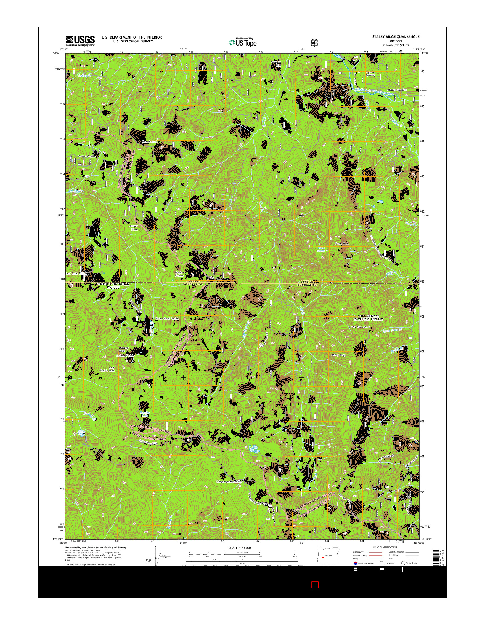 USGS US TOPO 7.5-MINUTE MAP FOR STALEY RIDGE, OR 2014