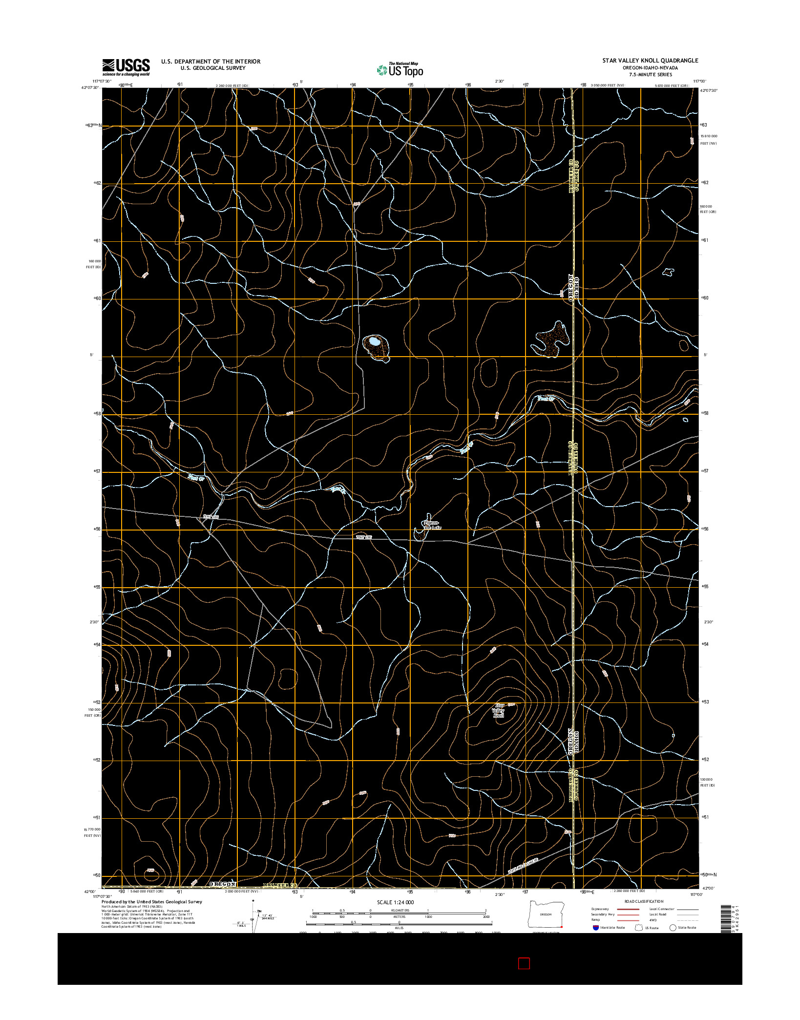 USGS US TOPO 7.5-MINUTE MAP FOR STAR VALLEY KNOLL, OR-ID-NV 2014