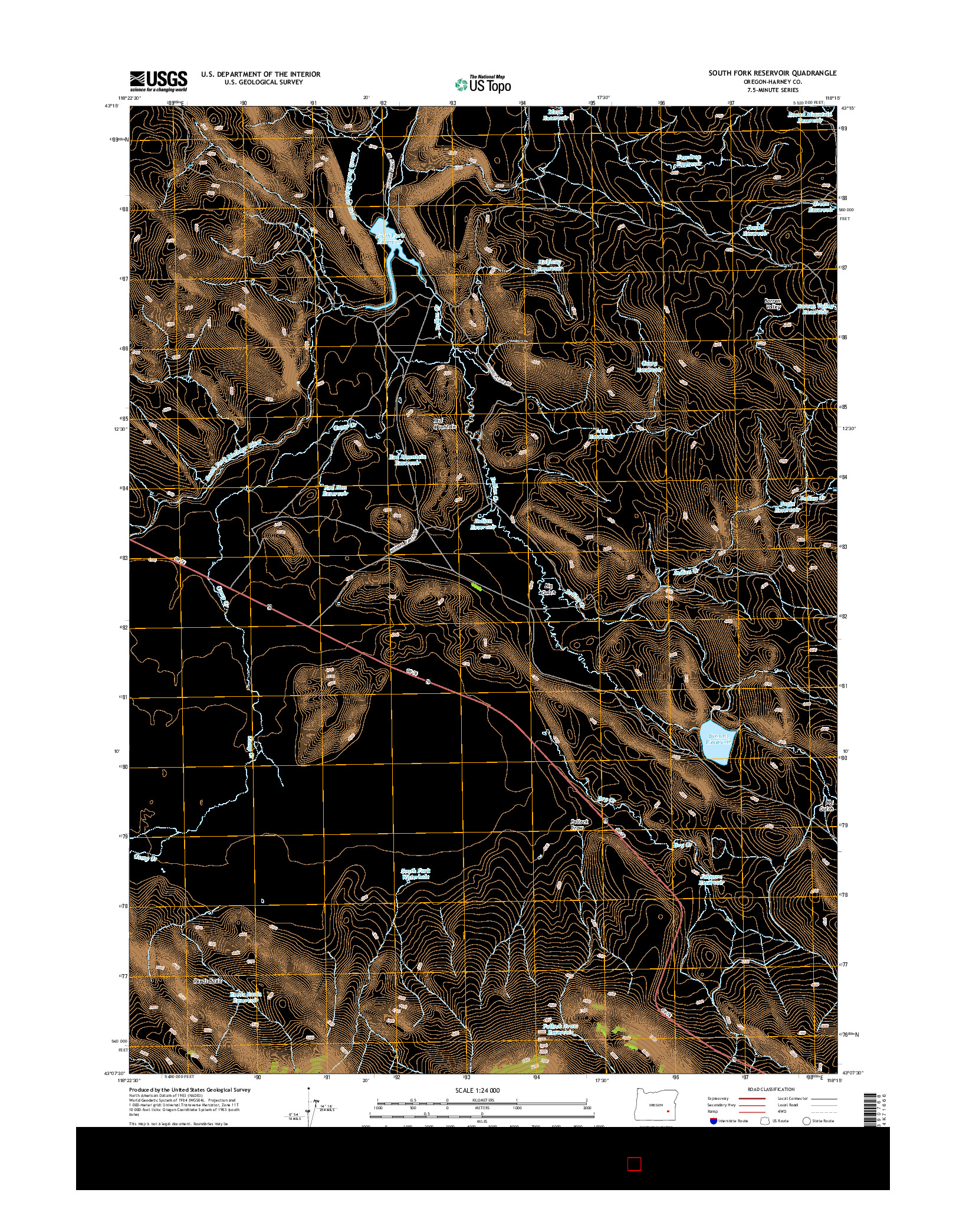 USGS US TOPO 7.5-MINUTE MAP FOR SOUTH FORK RESERVOIR, OR 2014