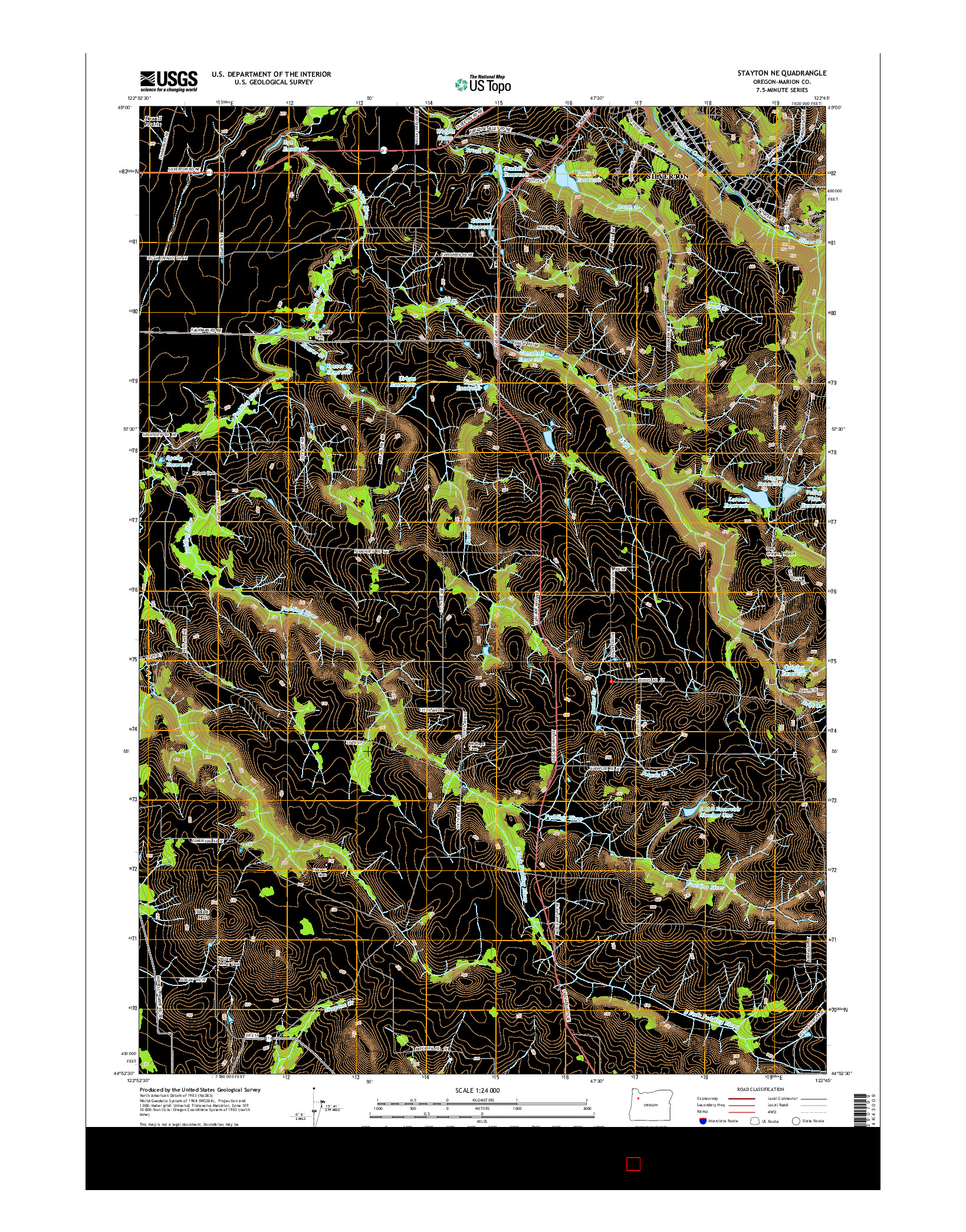 USGS US TOPO 7.5-MINUTE MAP FOR STAYTON NE, OR 2014
