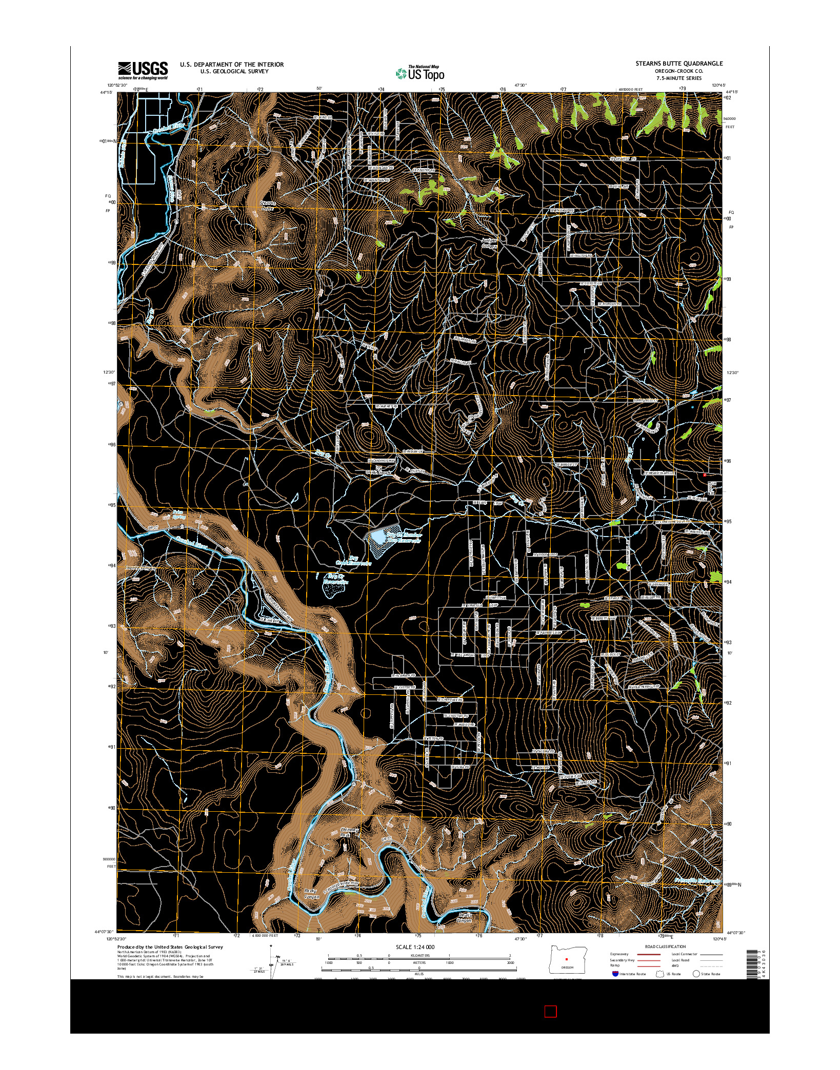 USGS US TOPO 7.5-MINUTE MAP FOR STEARNS BUTTE, OR 2014