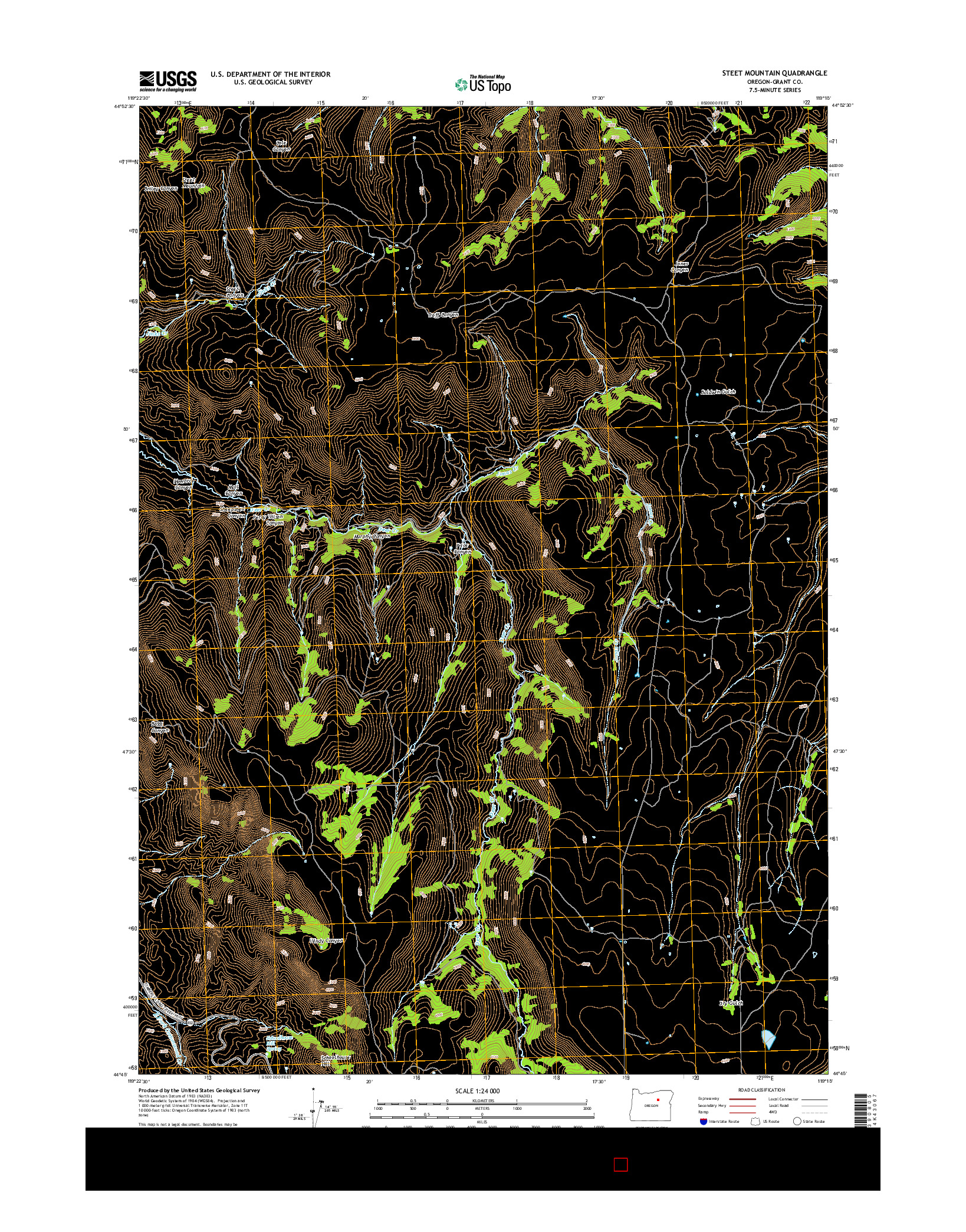 USGS US TOPO 7.5-MINUTE MAP FOR STEET MOUNTAIN, OR 2014