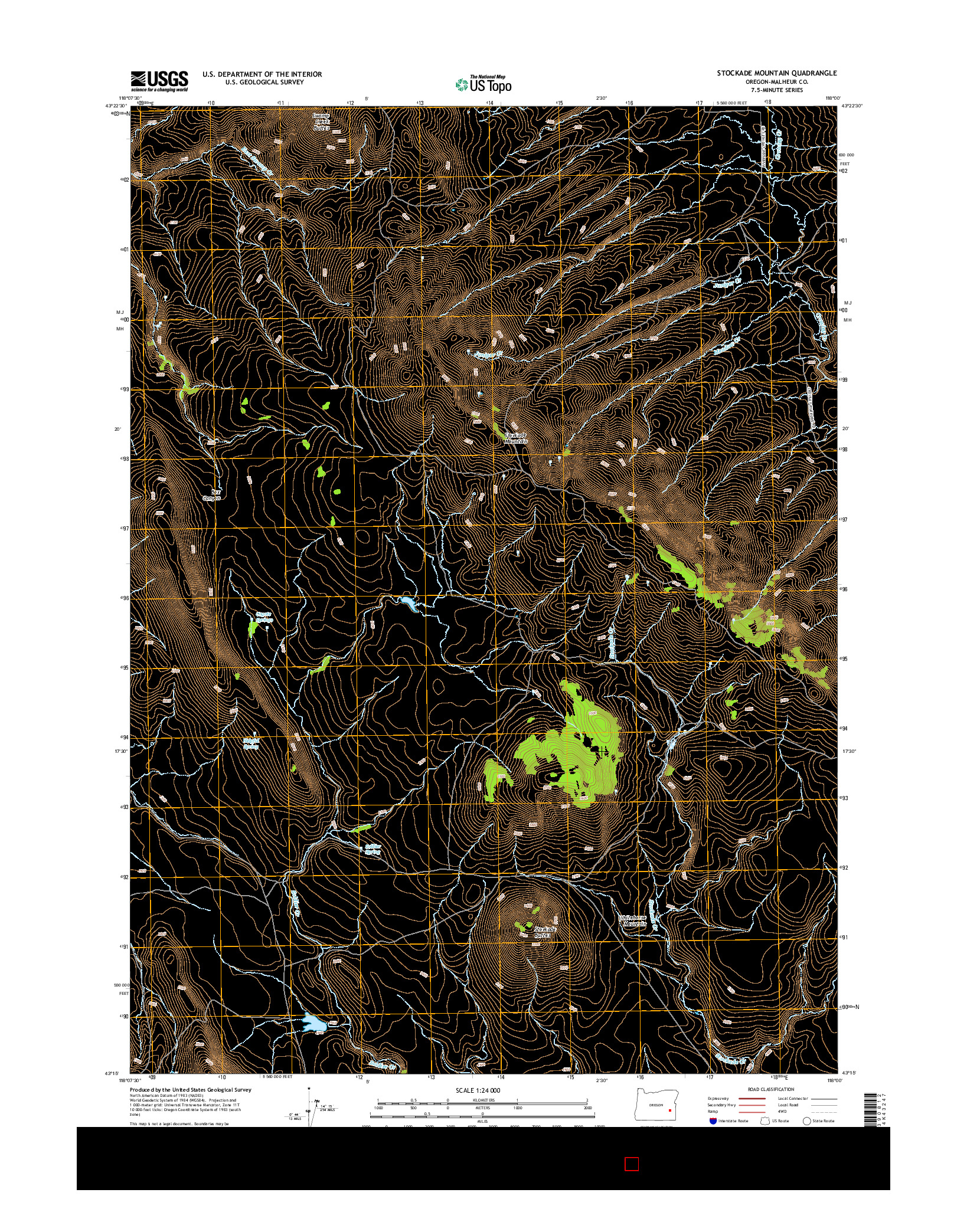 USGS US TOPO 7.5-MINUTE MAP FOR STOCKADE MOUNTAIN, OR 2014