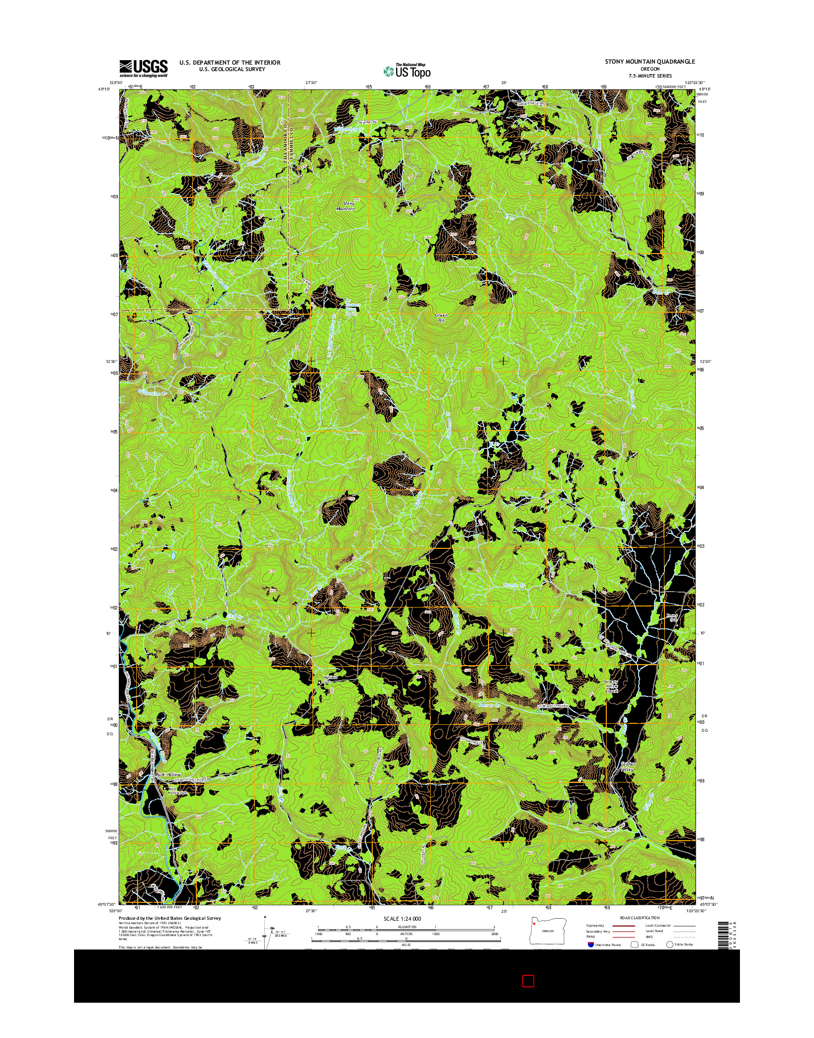 USGS US TOPO 7.5-MINUTE MAP FOR STONY MOUNTAIN, OR 2014