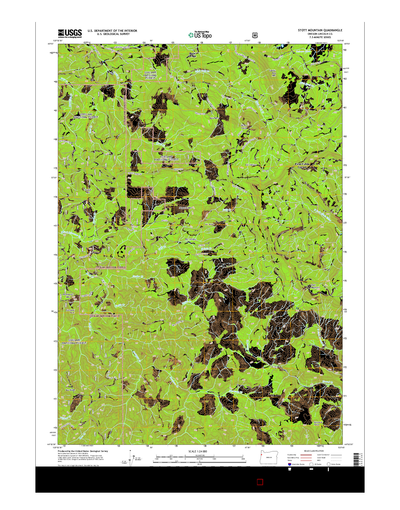 USGS US TOPO 7.5-MINUTE MAP FOR STOTT MOUNTAIN, OR 2014