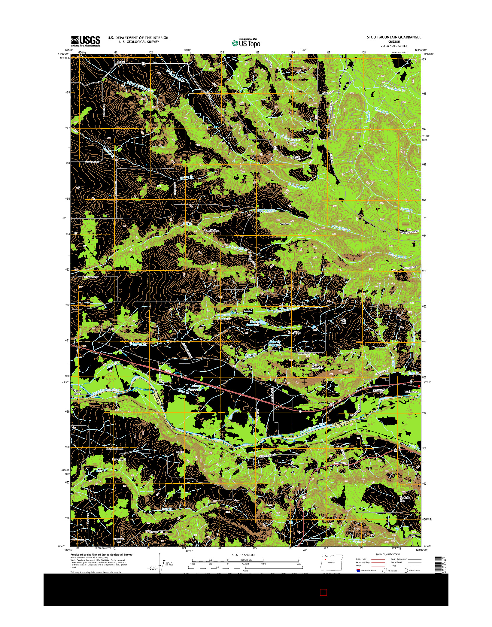 USGS US TOPO 7.5-MINUTE MAP FOR STOUT MOUNTAIN, OR 2014