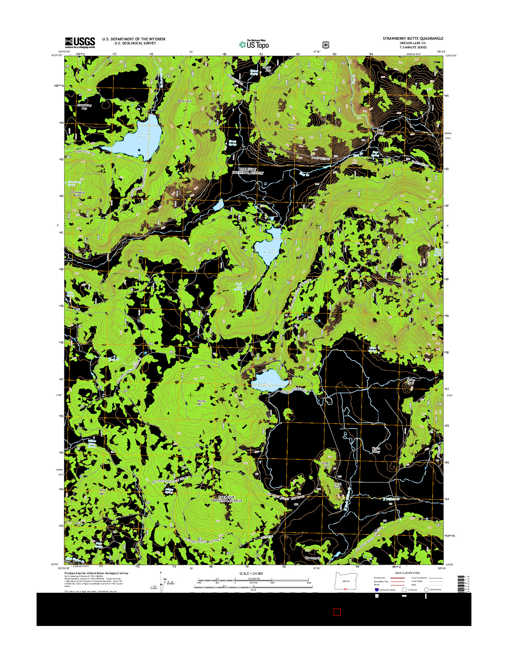 USGS US TOPO 7.5-MINUTE MAP FOR STRAWBERRY BUTTE, OR 2014