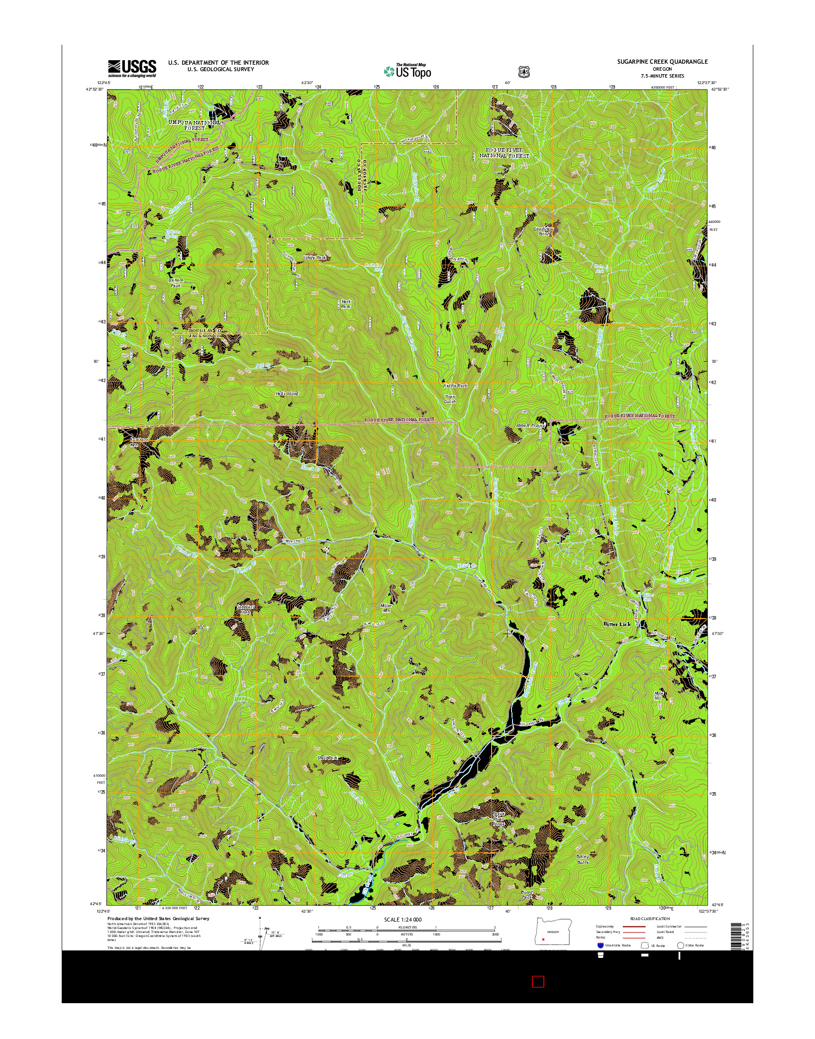 USGS US TOPO 7.5-MINUTE MAP FOR SUGARPINE CREEK, OR 2014