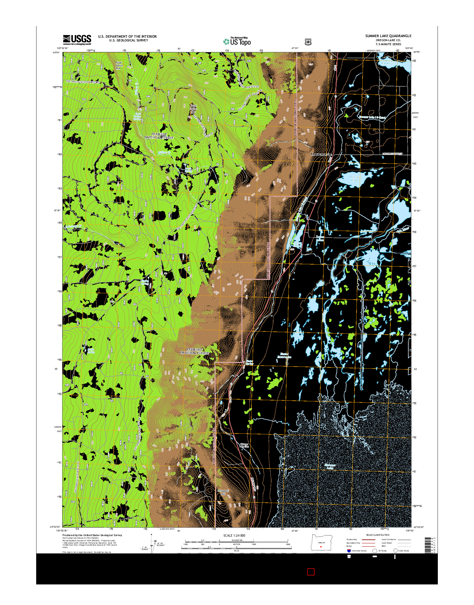 USGS US TOPO 7.5-MINUTE MAP FOR SUMMER LAKE, OR 2014