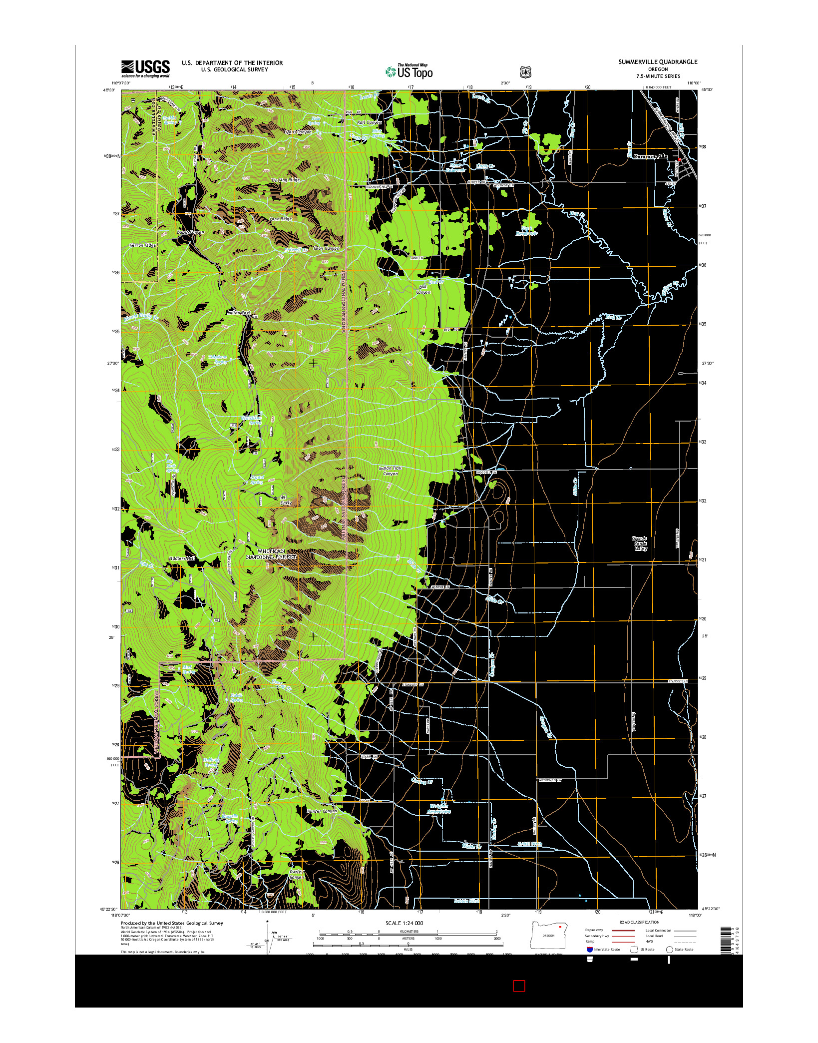 USGS US TOPO 7.5-MINUTE MAP FOR SUMMERVILLE, OR 2014