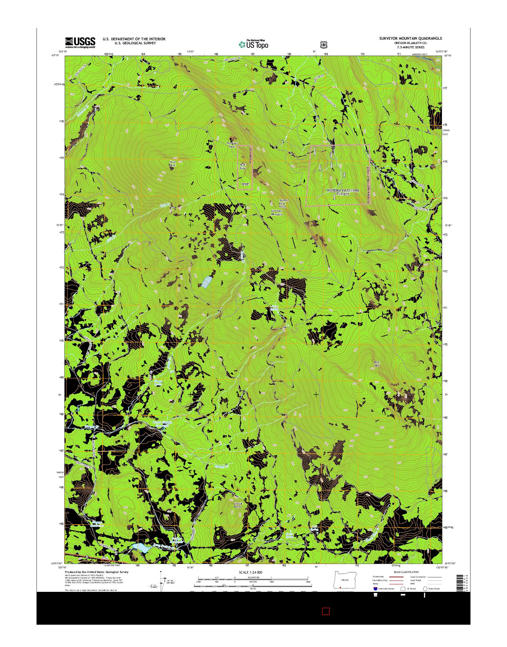 USGS US TOPO 7.5-MINUTE MAP FOR SURVEYOR MOUNTAIN, OR 2014