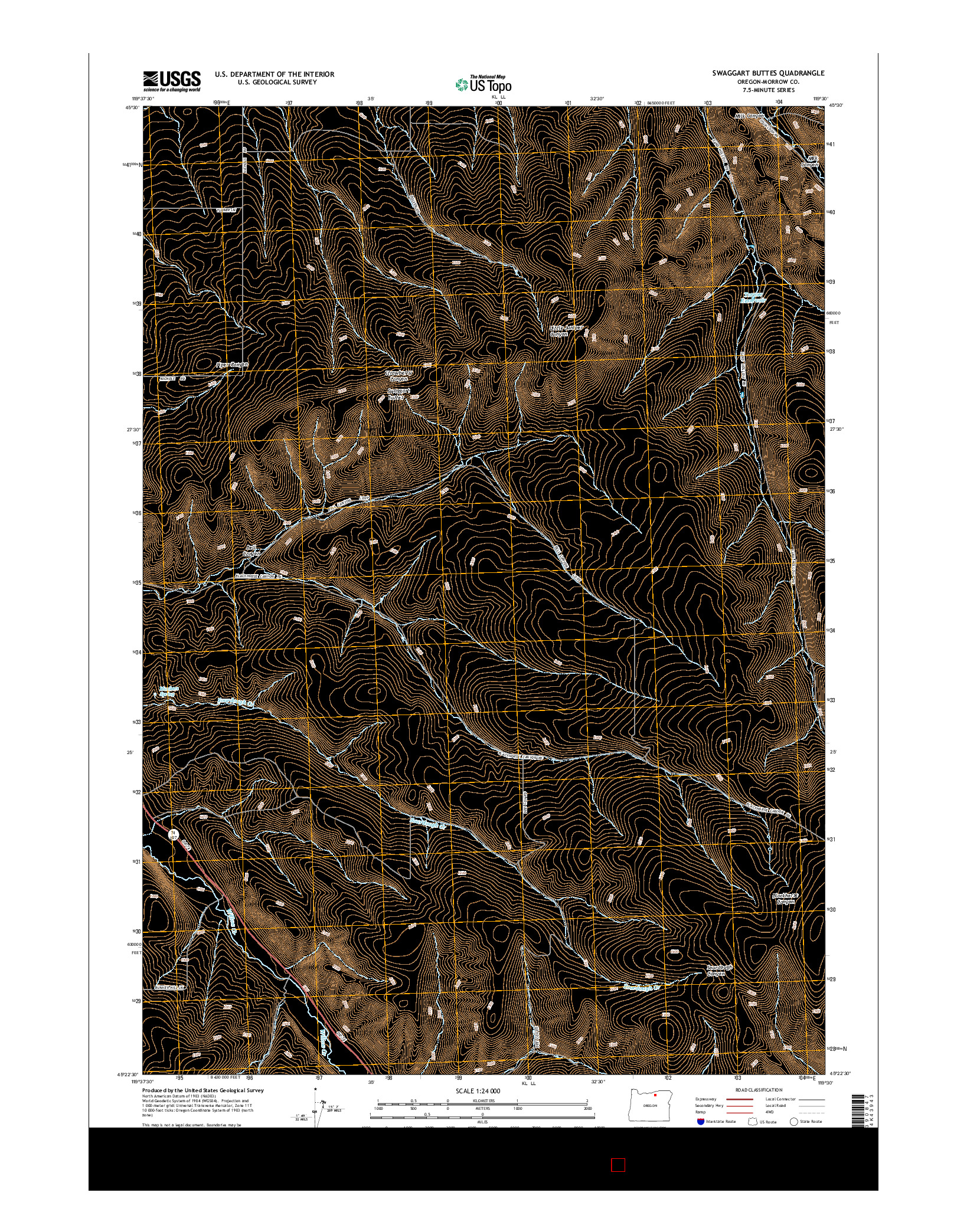 USGS US TOPO 7.5-MINUTE MAP FOR SWAGGART BUTTES, OR 2014