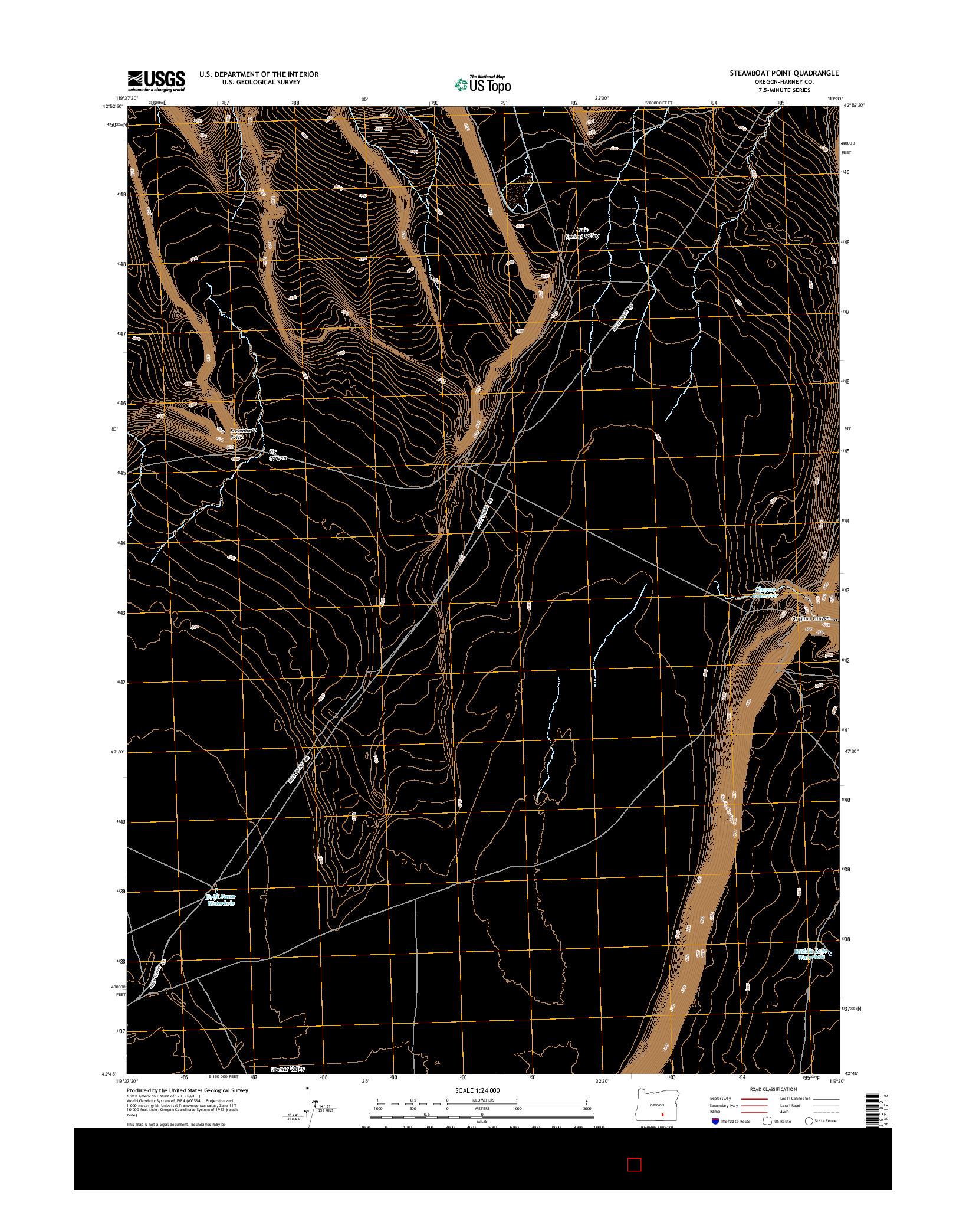 USGS US TOPO 7.5-MINUTE MAP FOR STEAMBOAT POINT, OR 2014
