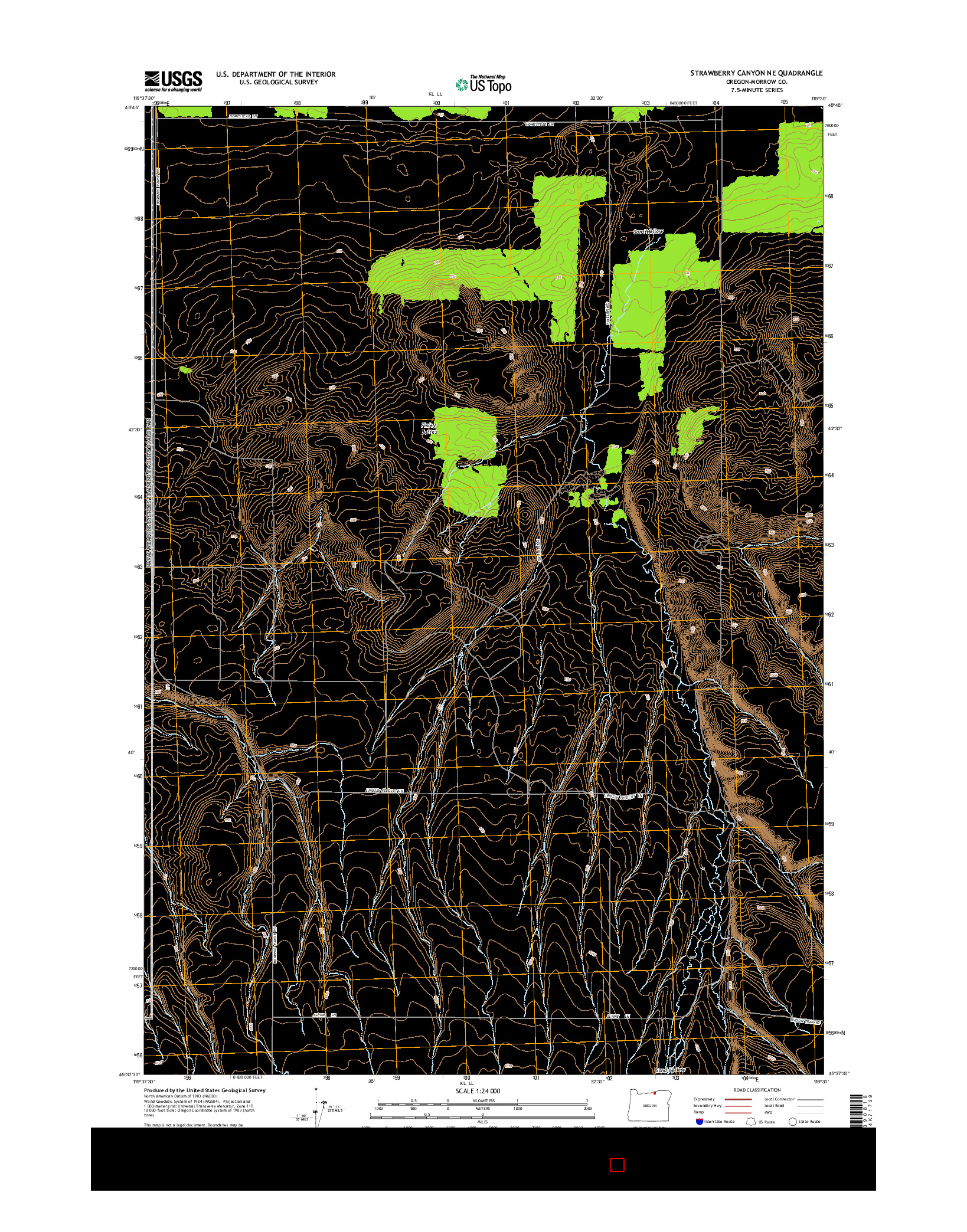 USGS US TOPO 7.5-MINUTE MAP FOR STRAWBERRY CANYON NE, OR 2014