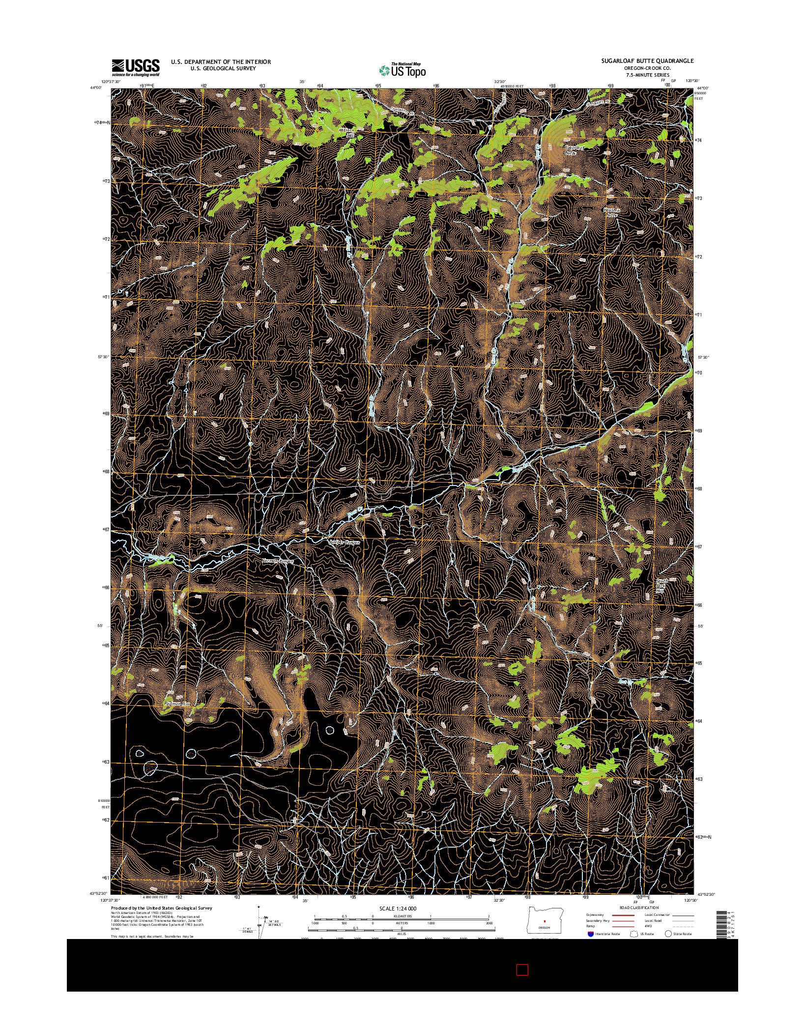 USGS US TOPO 7.5-MINUTE MAP FOR SUGARLOAF BUTTE, OR 2014