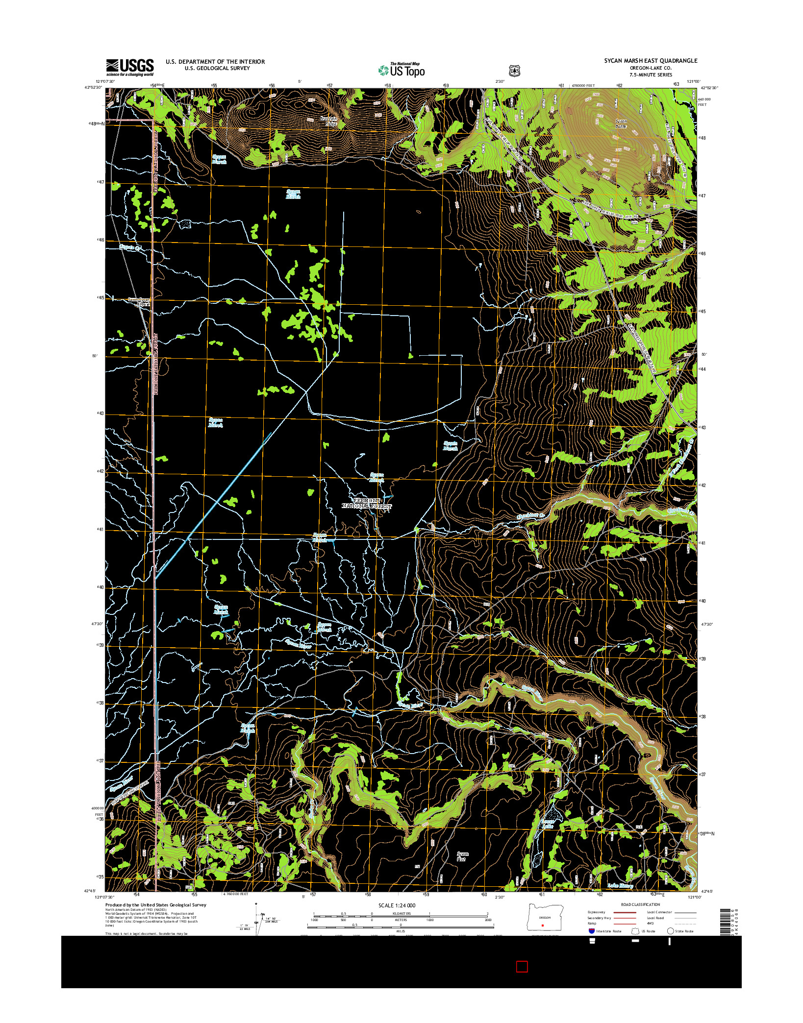 USGS US TOPO 7.5-MINUTE MAP FOR SYCAN MARSH EAST, OR 2014