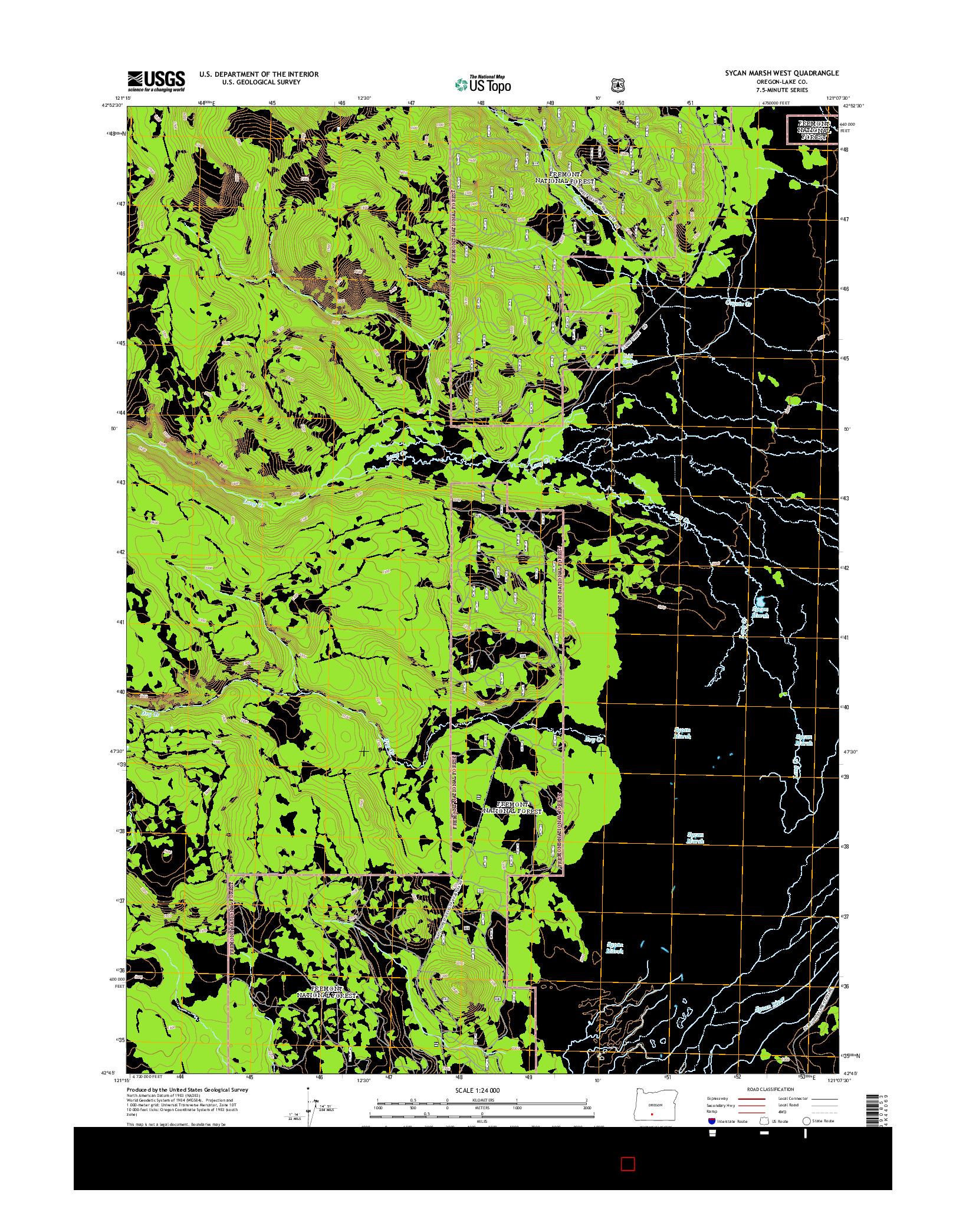 USGS US TOPO 7.5-MINUTE MAP FOR SYCAN MARSH WEST, OR 2014