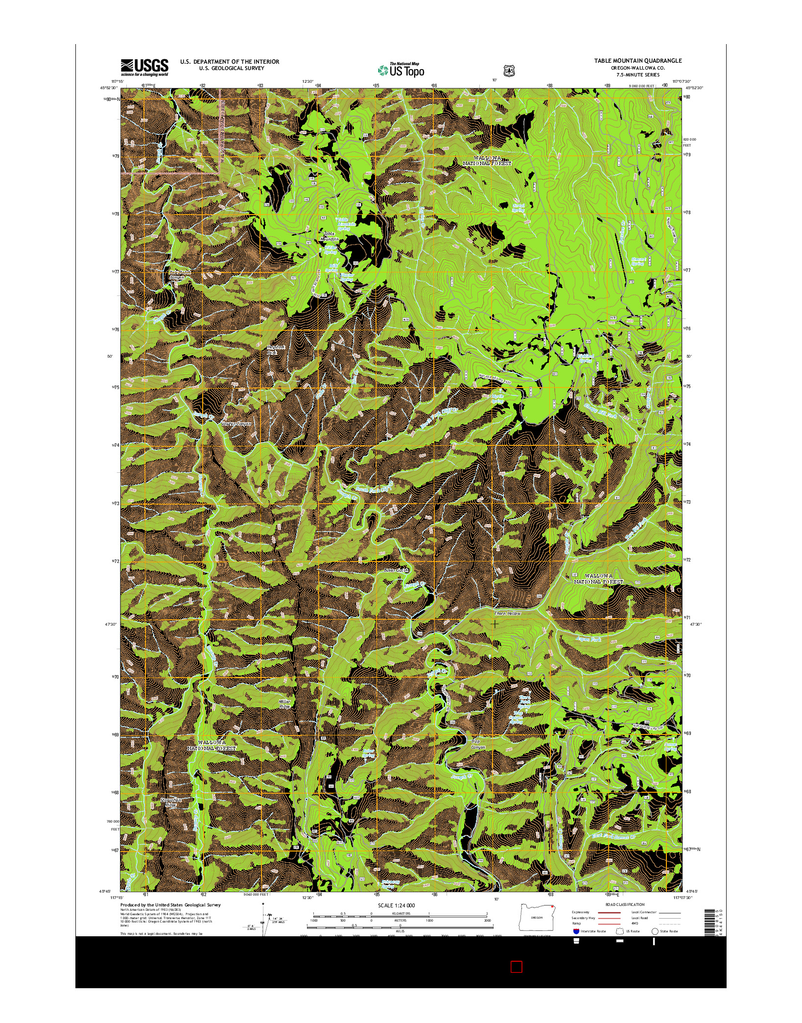 USGS US TOPO 7.5-MINUTE MAP FOR TABLE MOUNTAIN, OR 2014
