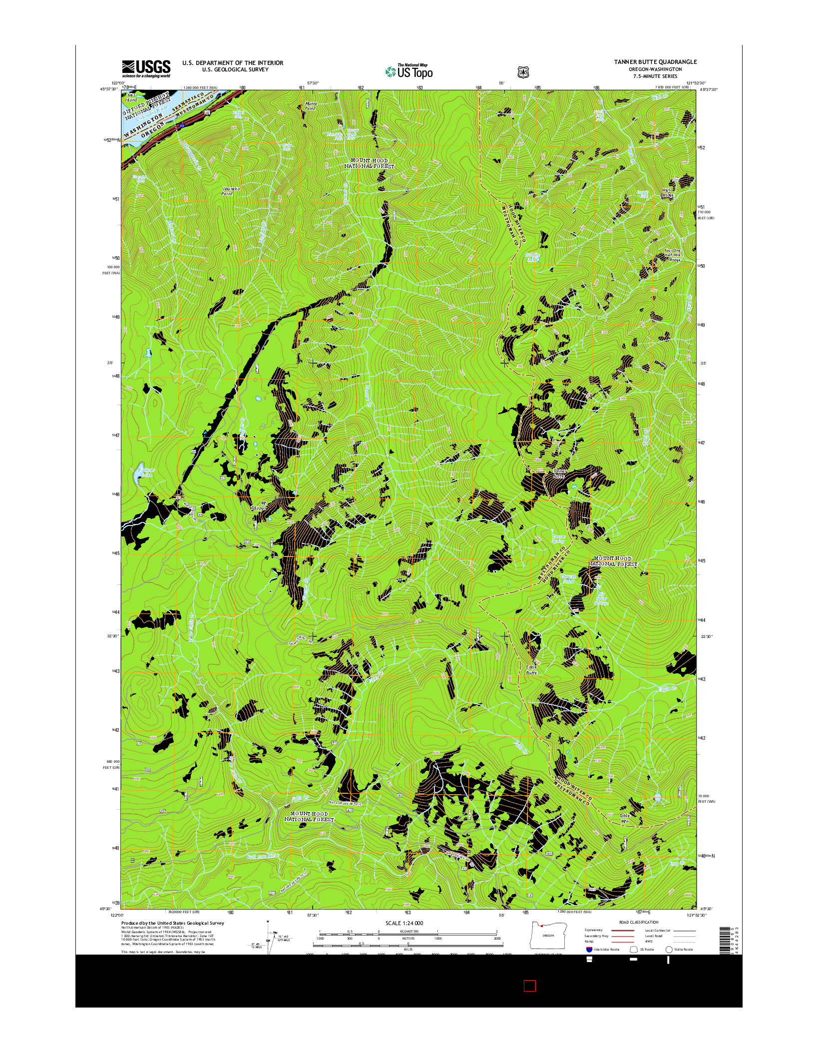 USGS US TOPO 7.5-MINUTE MAP FOR TANNER BUTTE, OR-WA 2014