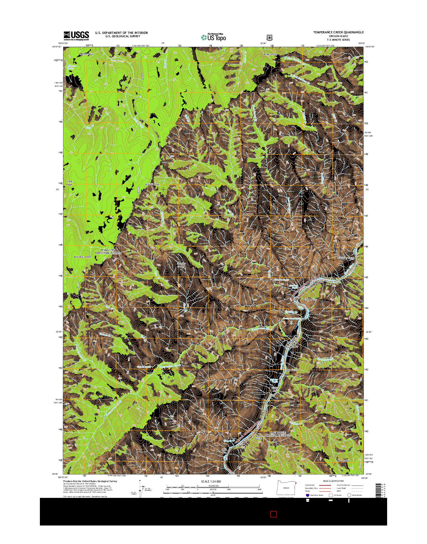 USGS US TOPO 7.5-MINUTE MAP FOR TEMPERANCE CREEK, OR-ID 2014