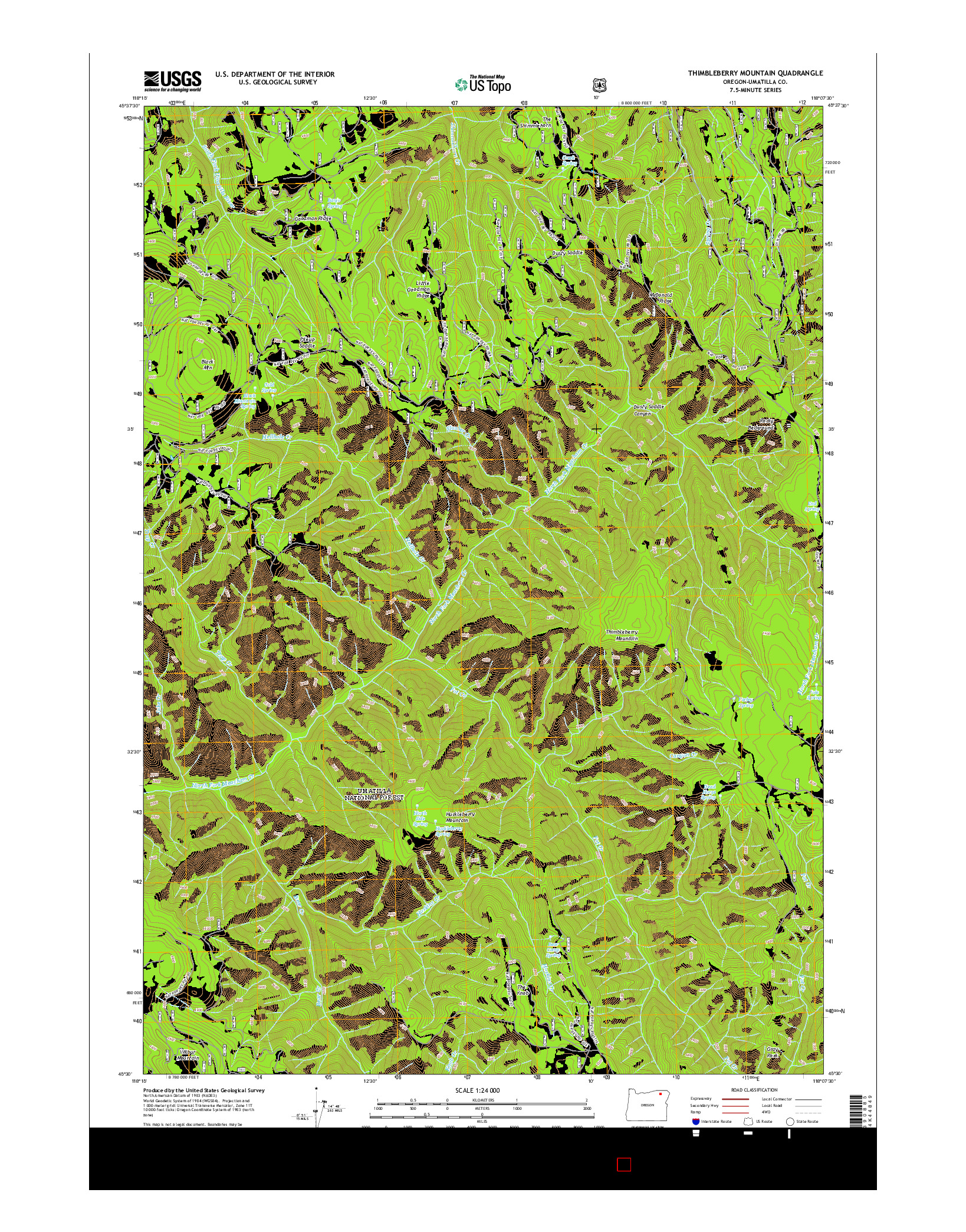 USGS US TOPO 7.5-MINUTE MAP FOR THIMBLEBERRY MOUNTAIN, OR 2014