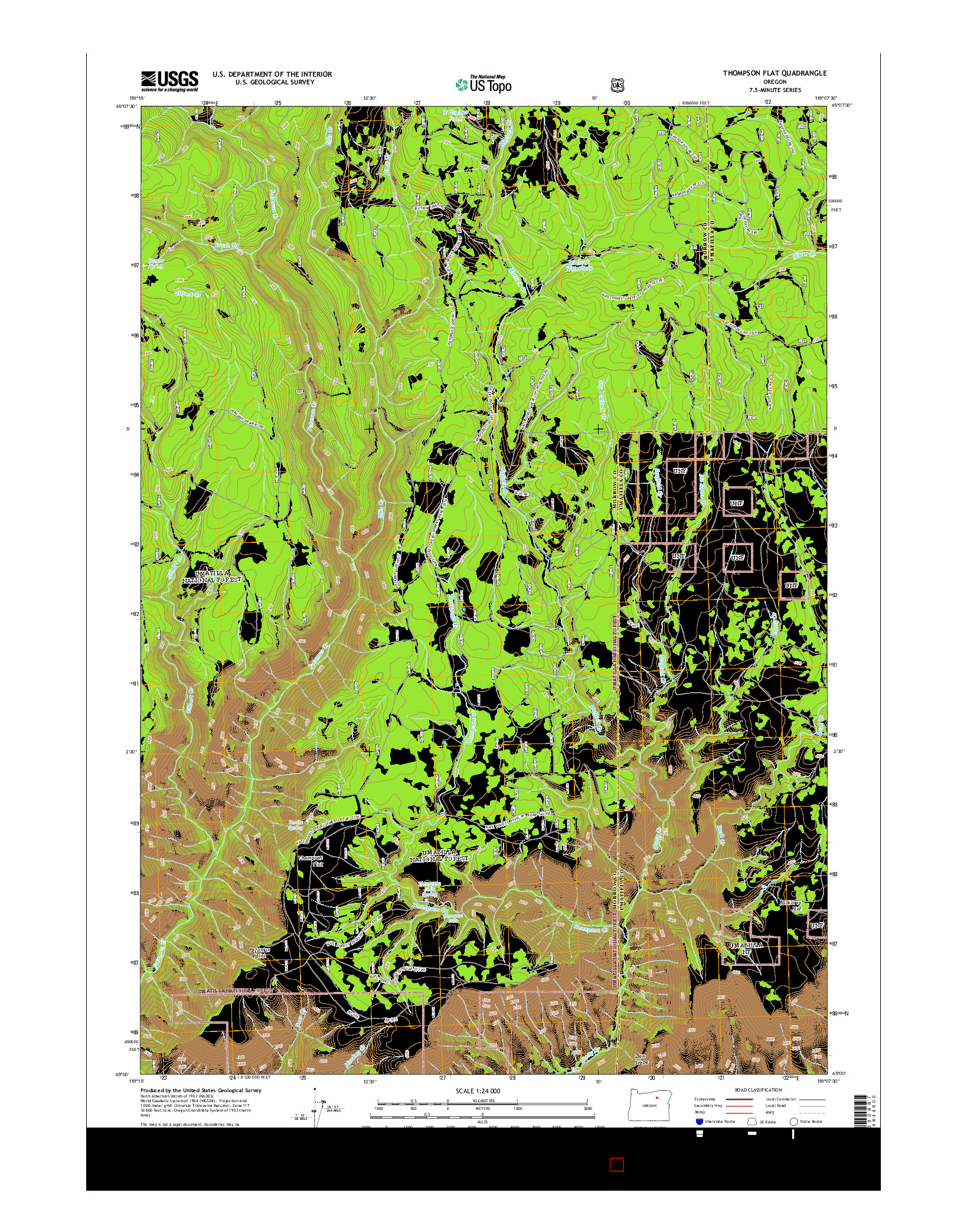 USGS US TOPO 7.5-MINUTE MAP FOR THOMPSON FLAT, OR 2014