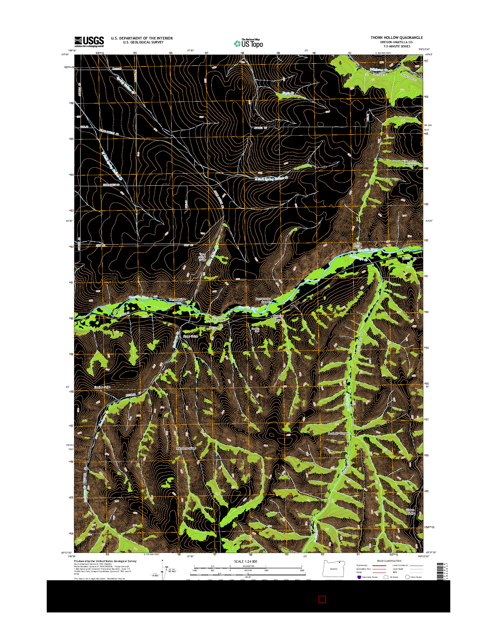 USGS US TOPO 7.5-MINUTE MAP FOR THORN HOLLOW, OR 2014
