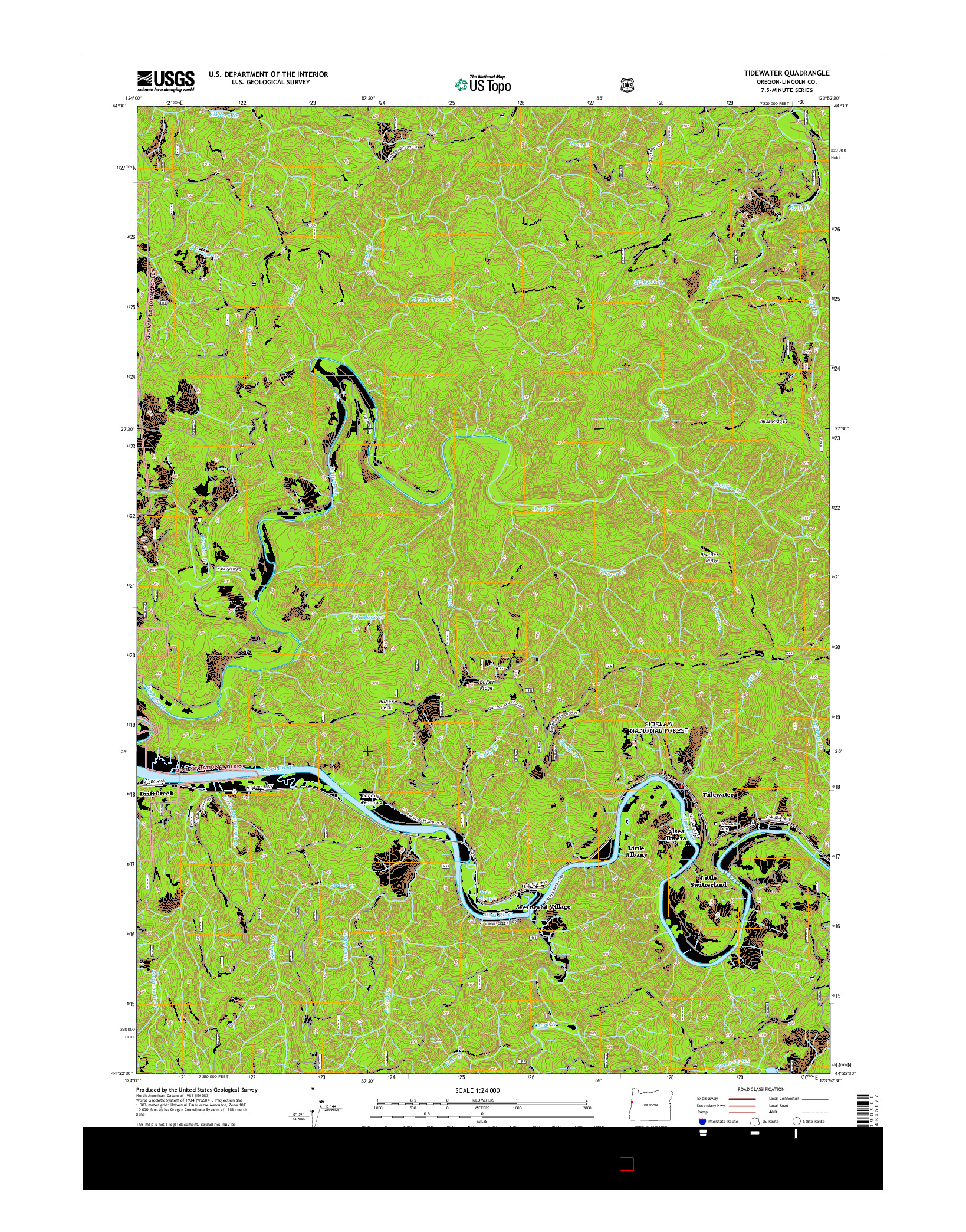 USGS US TOPO 7.5-MINUTE MAP FOR TIDEWATER, OR 2014