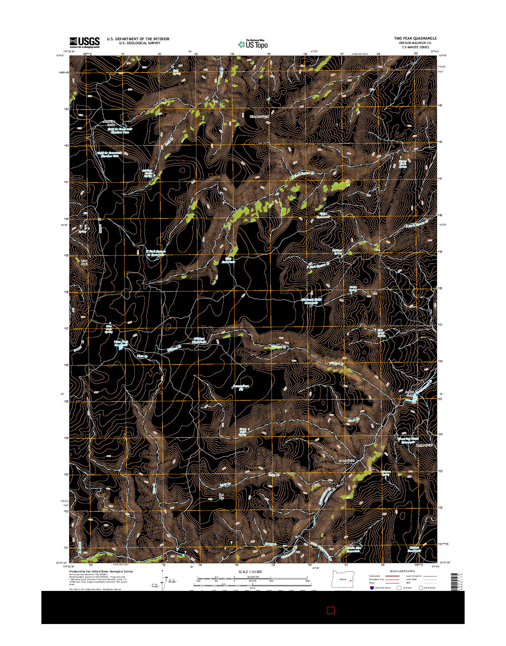 USGS US TOPO 7.5-MINUTE MAP FOR TIMS PEAK, OR 2014