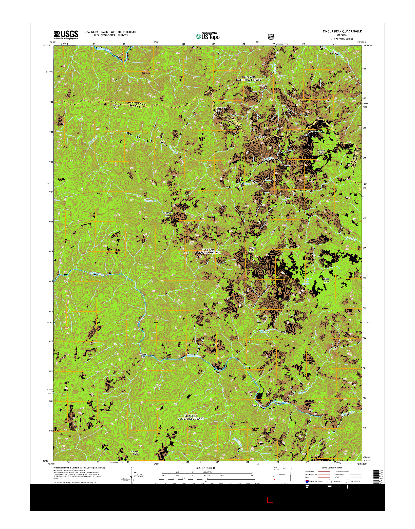 USGS US TOPO 7.5-MINUTE MAP FOR TINCUP PEAK, OR 2014